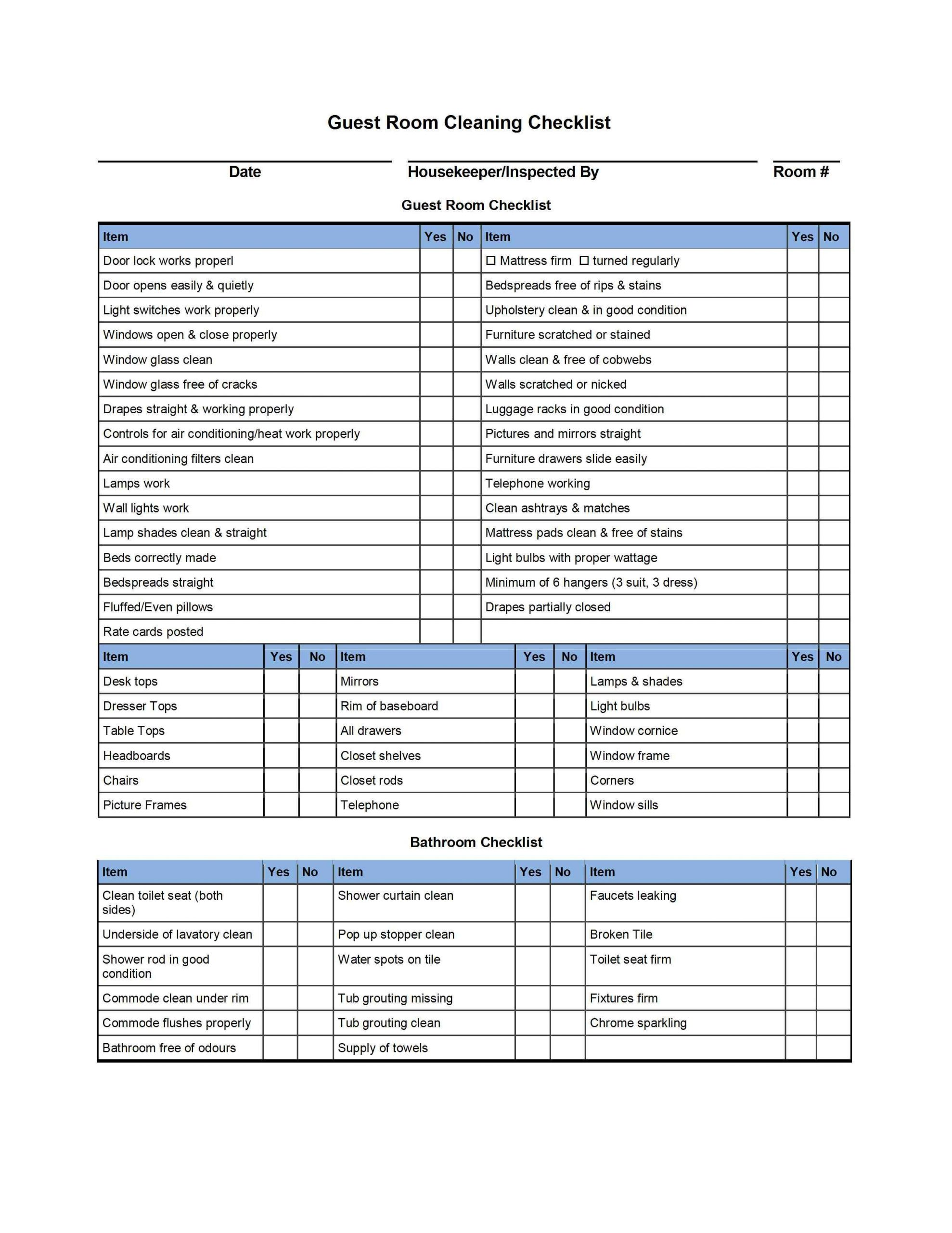 Commercial Cleaning Checklist Template