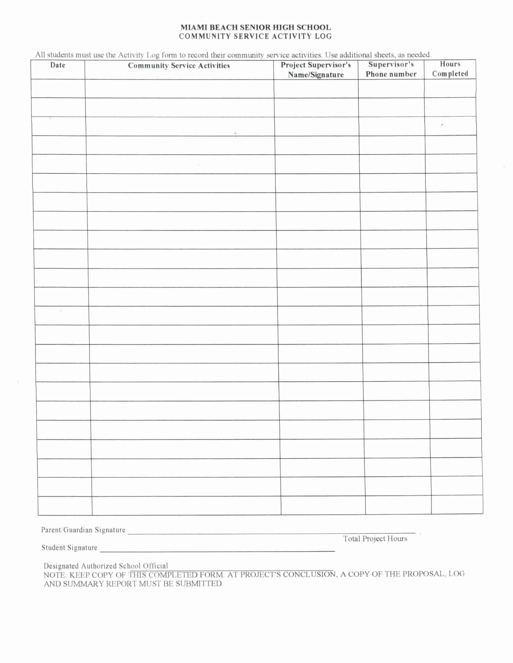 Community Service Timesheet Template