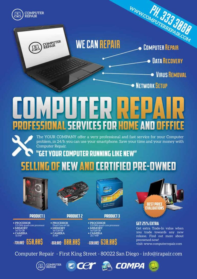 puter Repair Flyers Word Excel Samples with puter