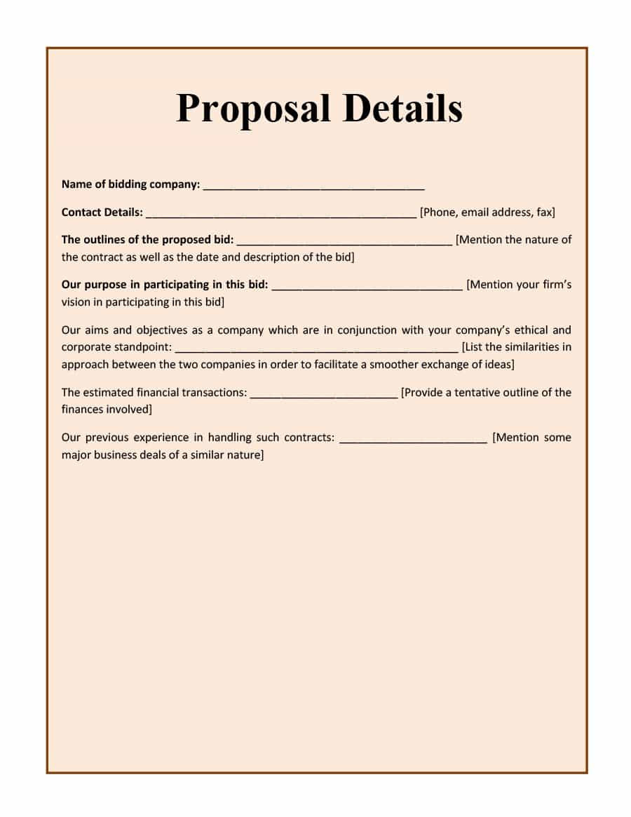 Construction Proposal Template Free