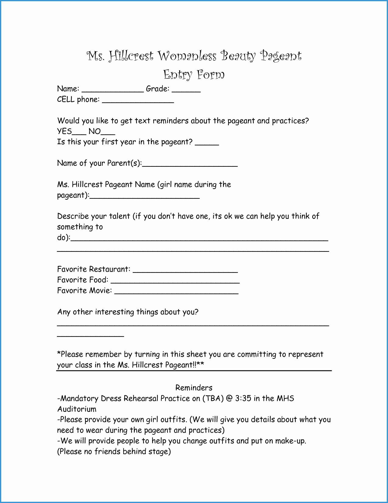 Free Printable Contest Entry form Template Great Beauty