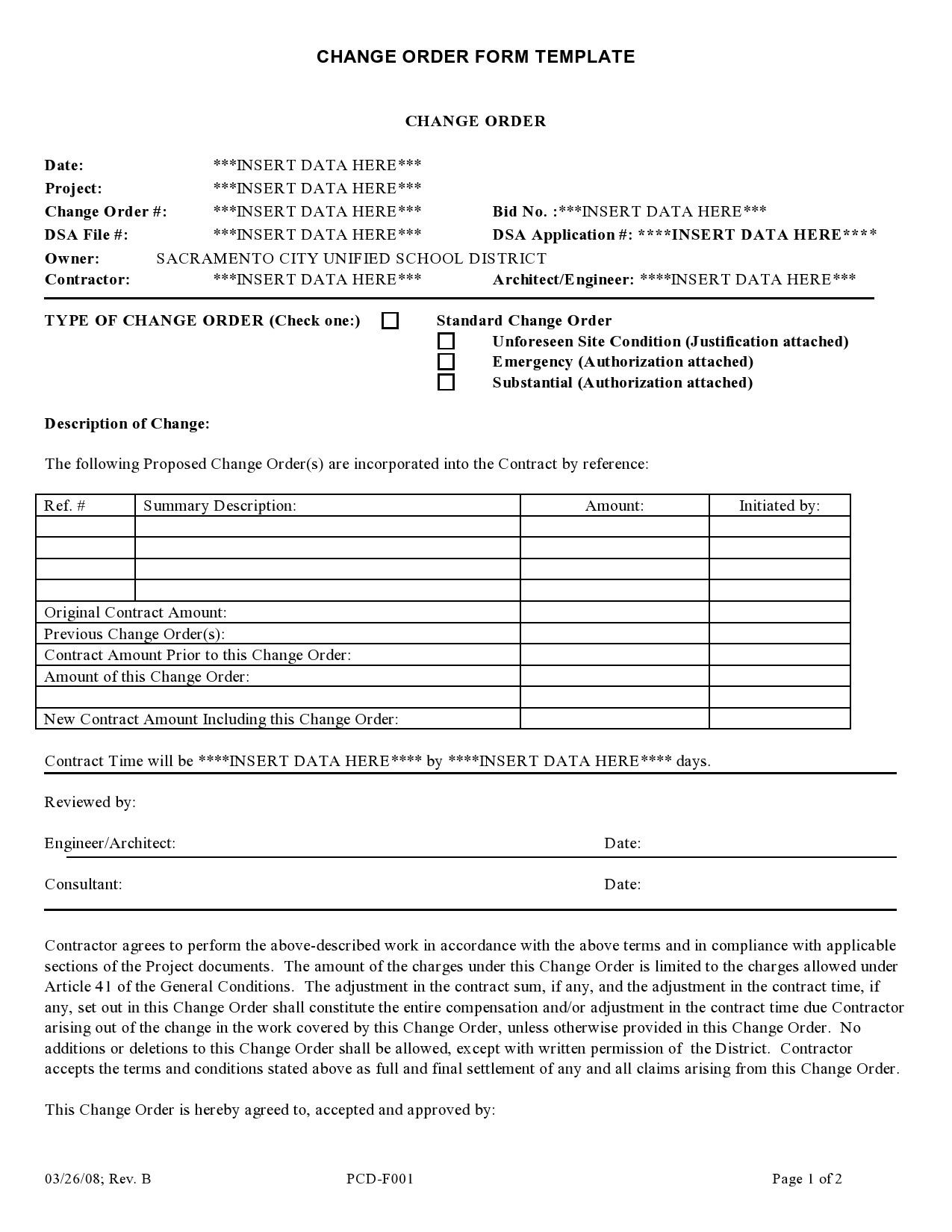 Contractor Bid Sheet Template