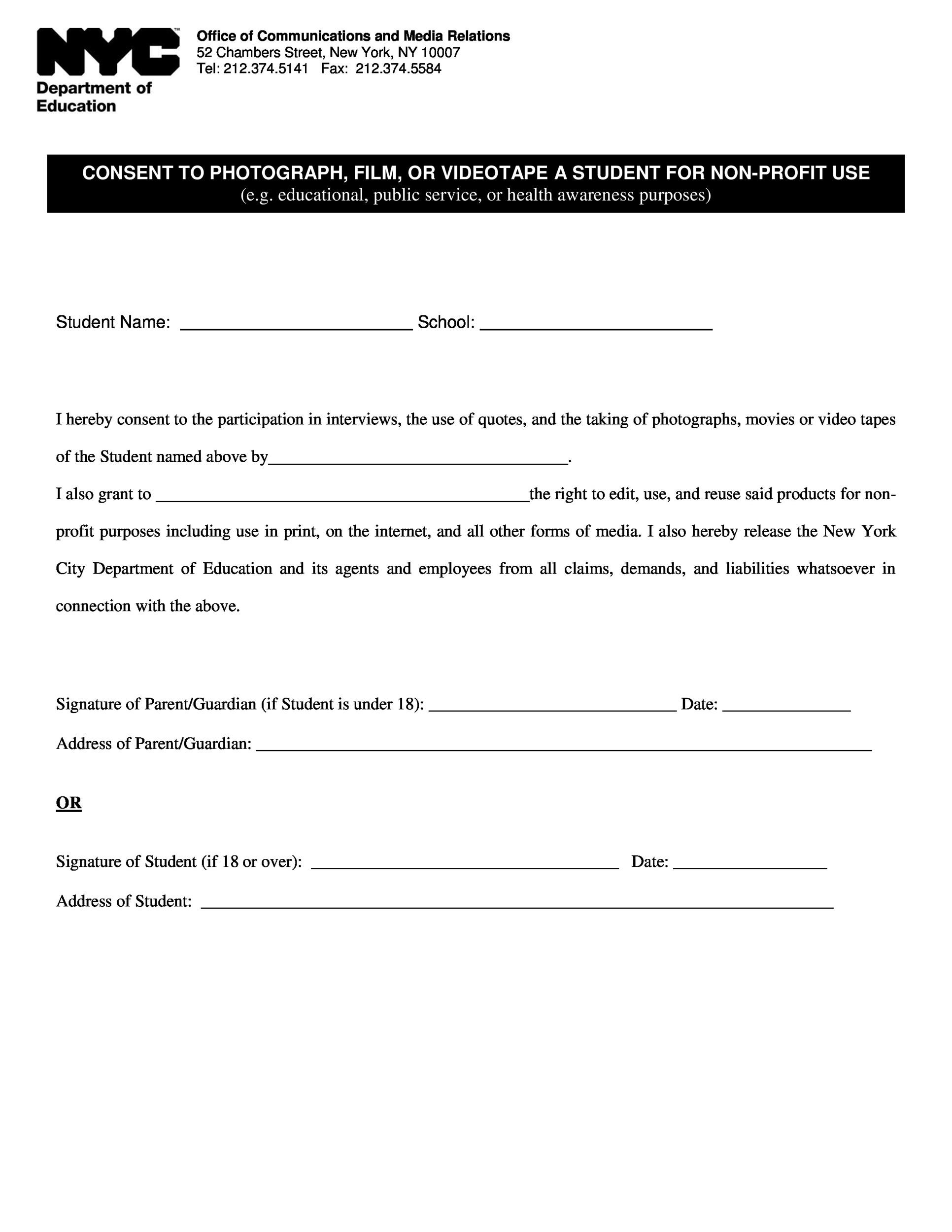 Copyright Release form Template