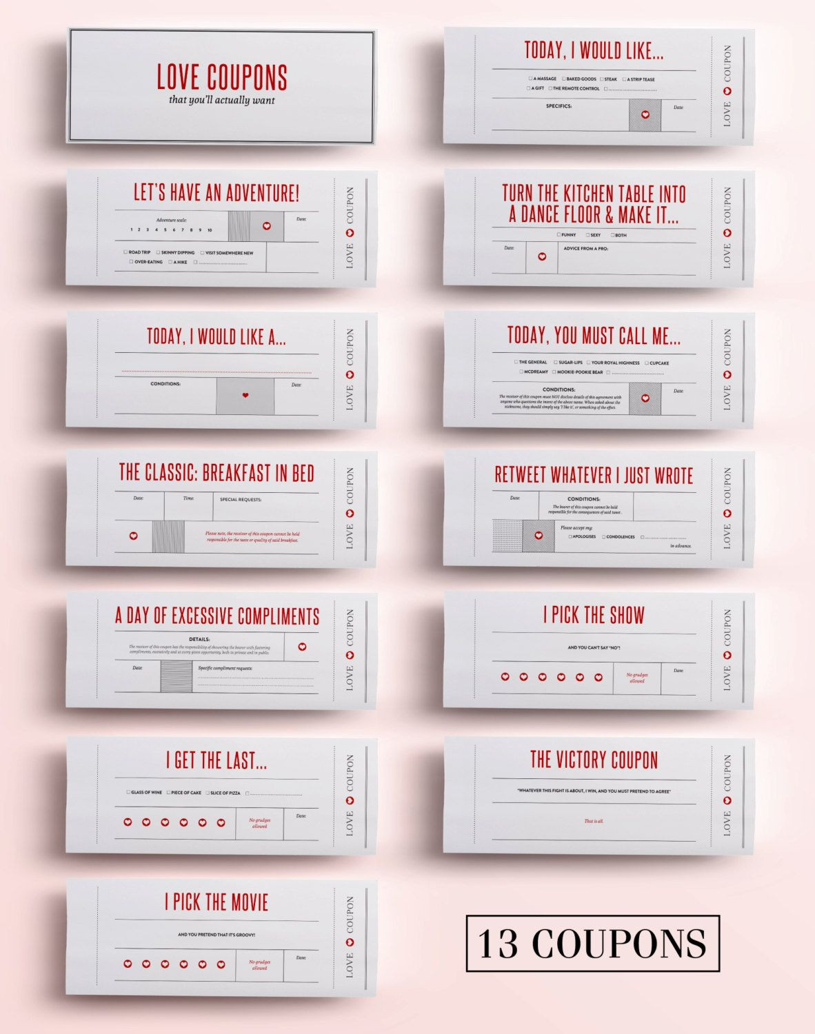 Coupons for Boyfriend Template