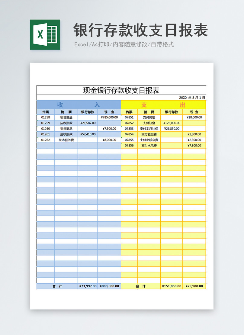 Daily Cash Flow Template