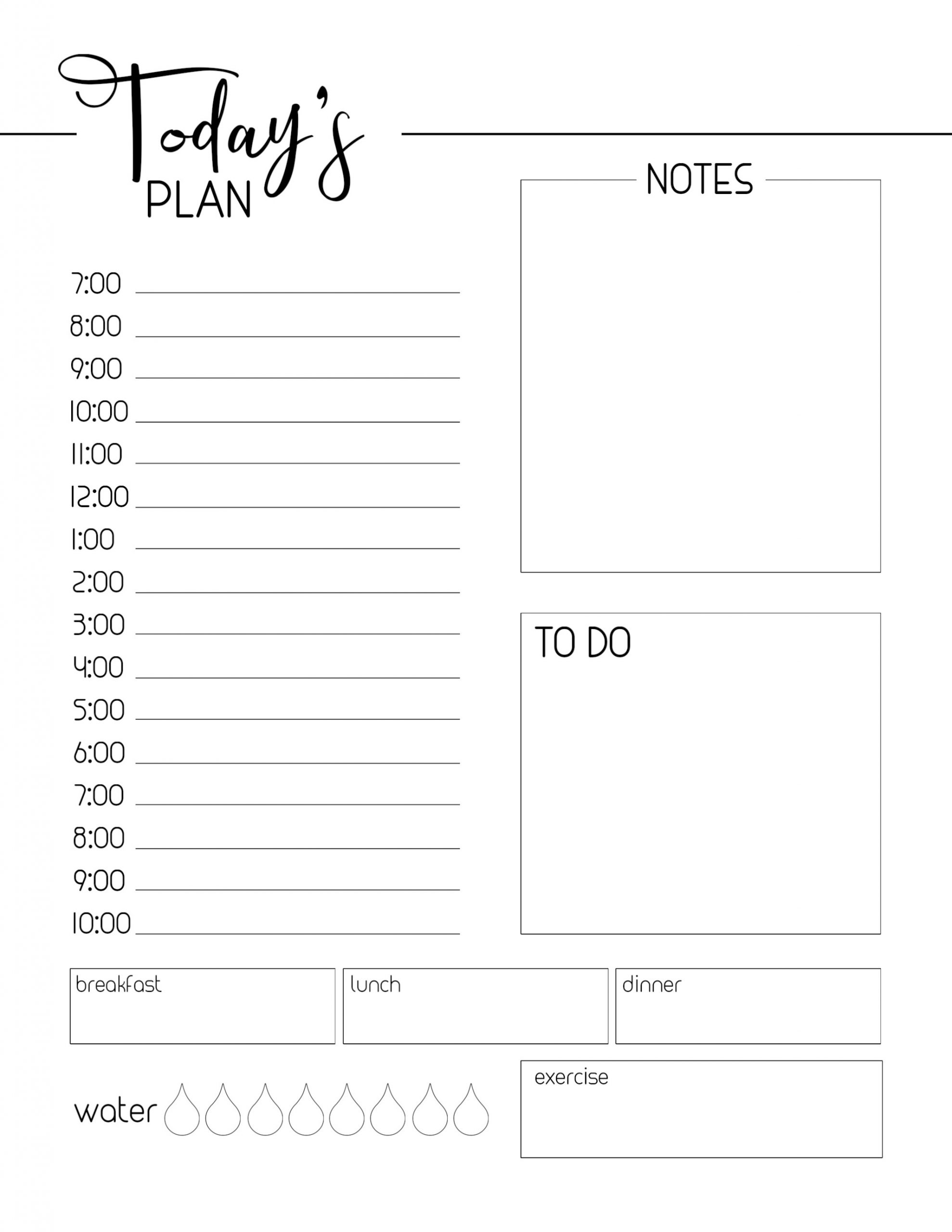 Daily Schedule Template Printable