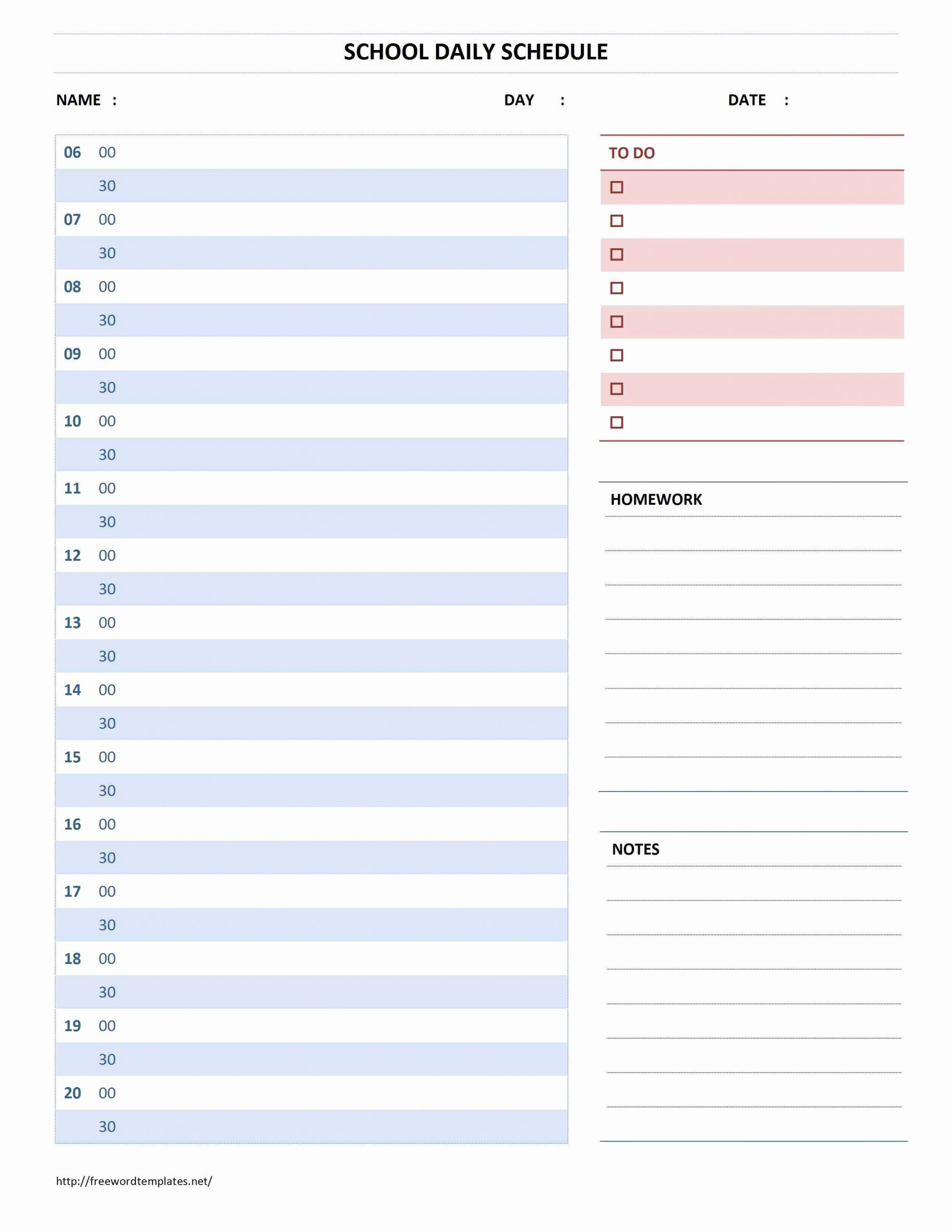 Daily Schedule Template Word