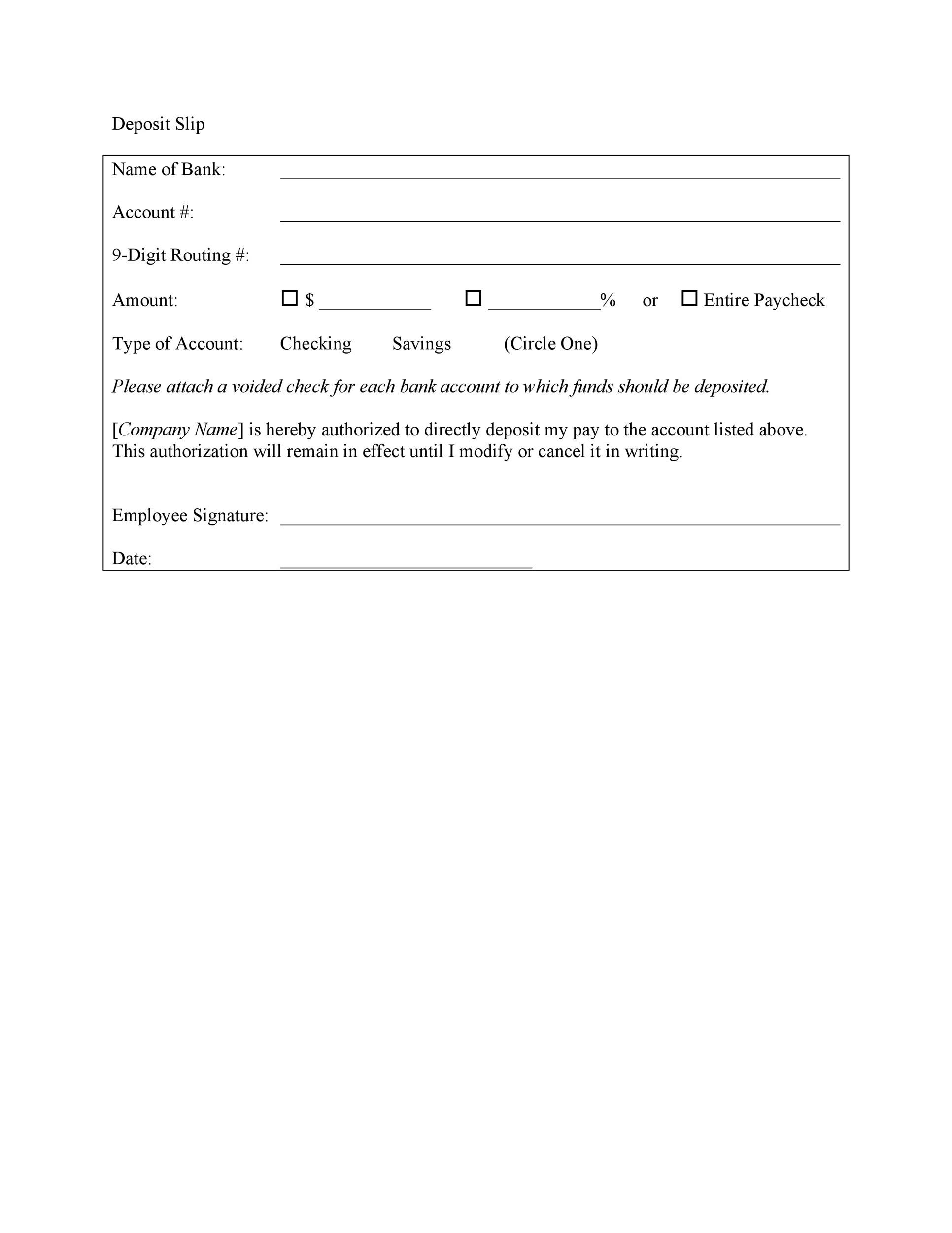 Deposit Slip Template Word