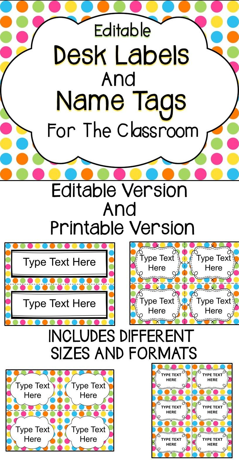 Editable Name Tags and Desk Labels Classroom Organization