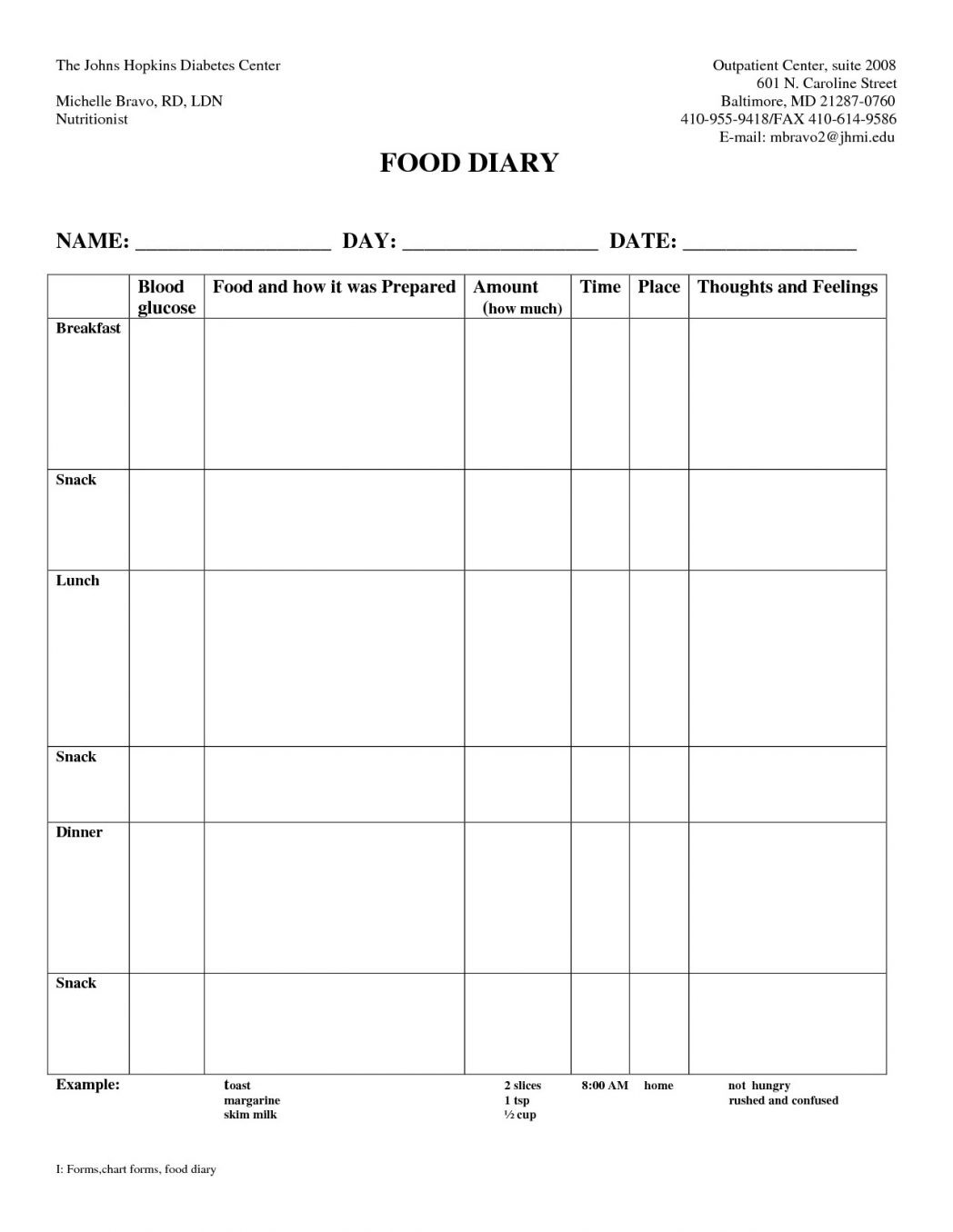 Diabetic Log Book Template