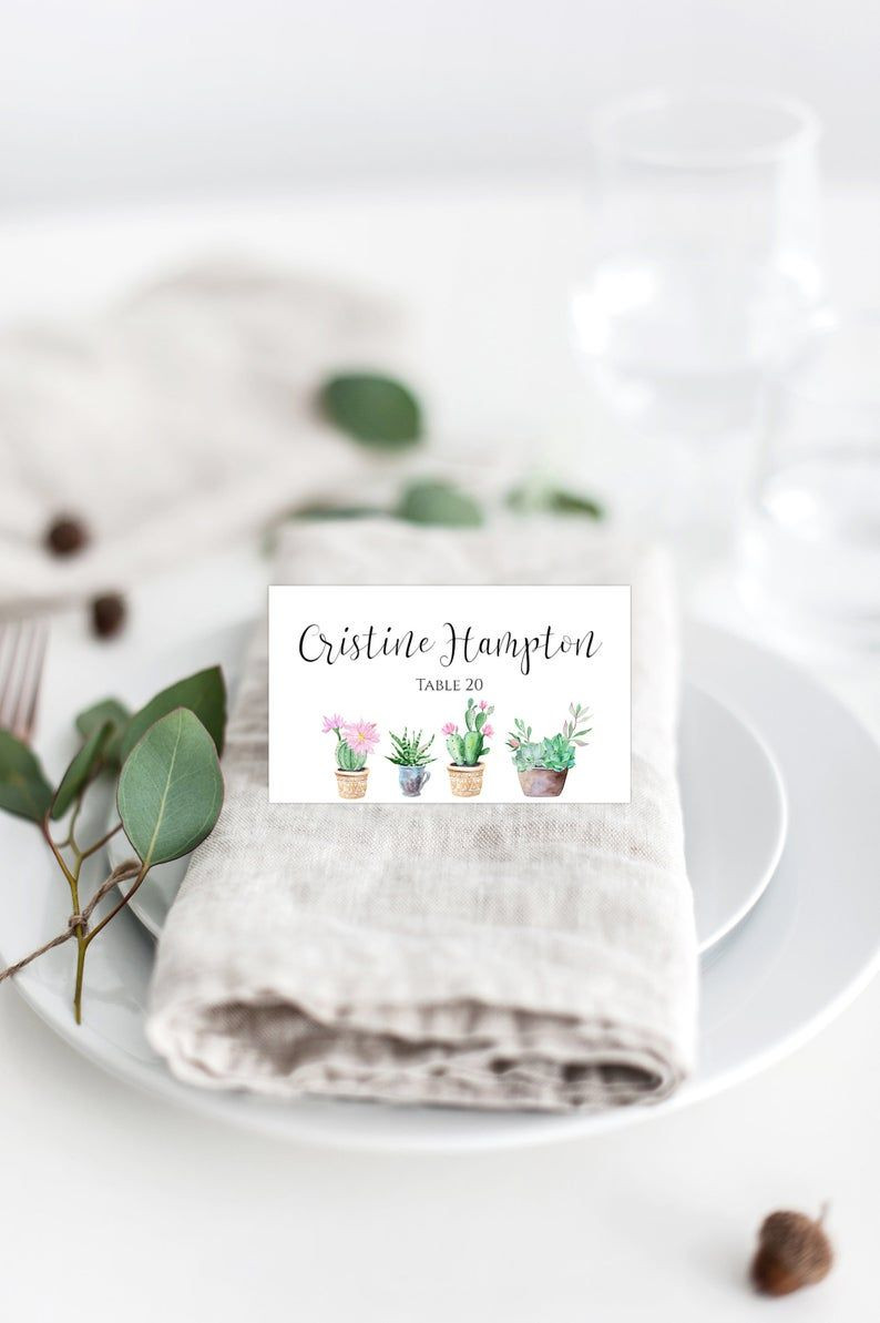 Cactus Place Card Template Succulent Wedding Place Cards