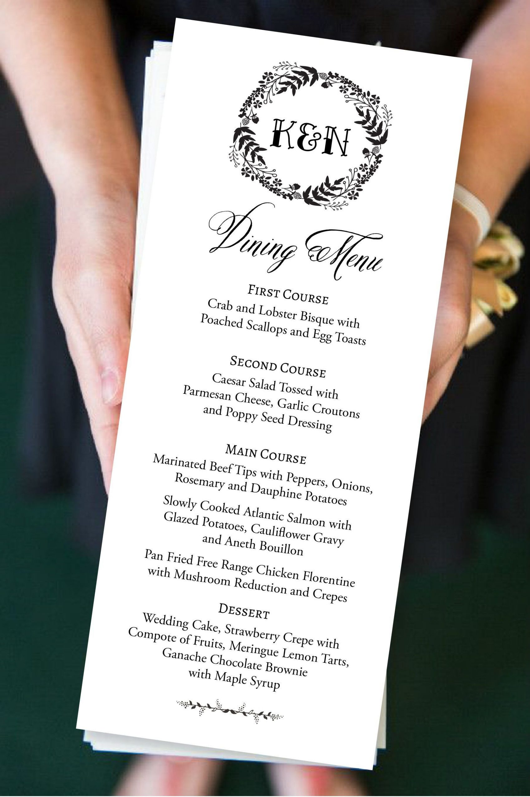 Diy Wedding Menu Template