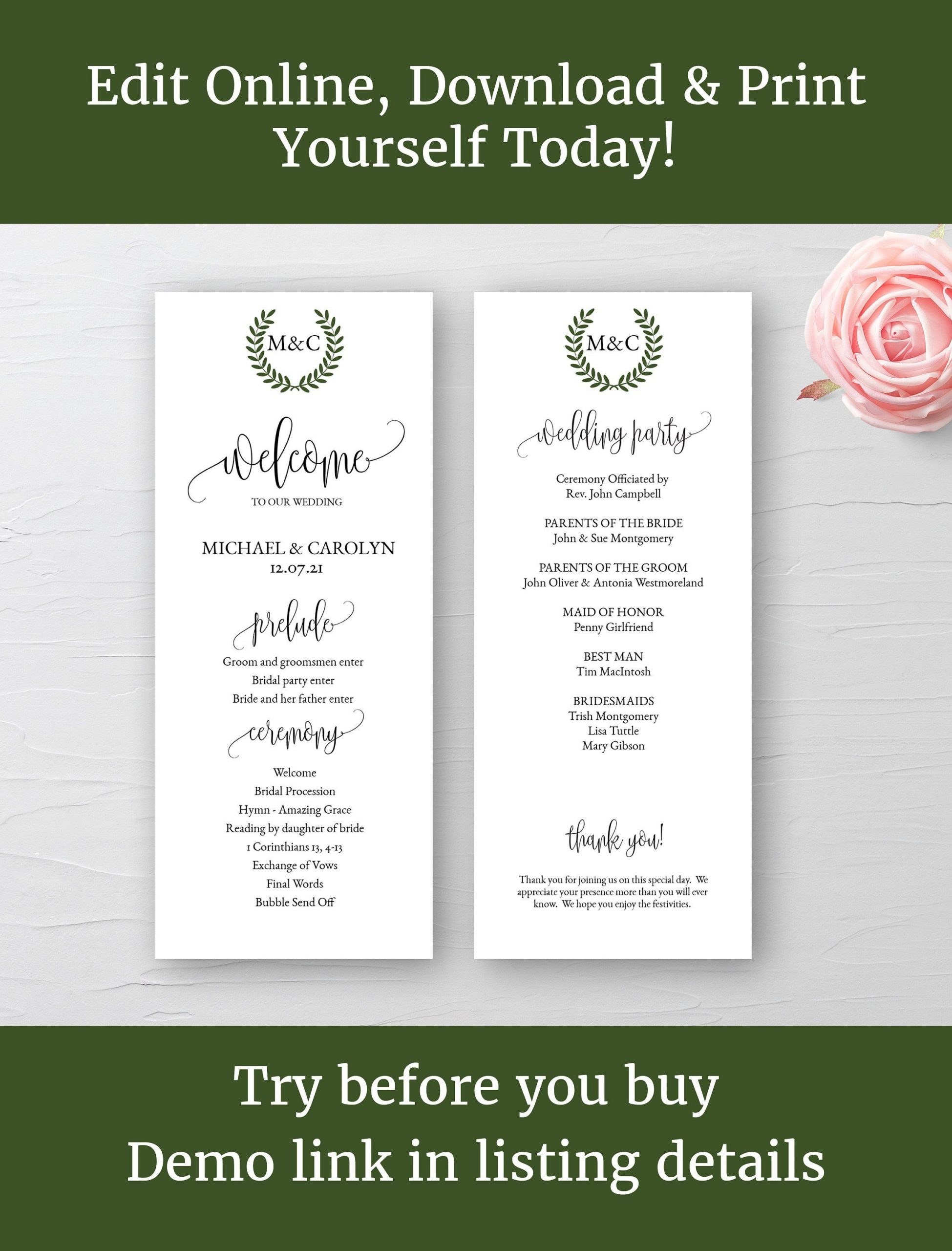 Diy Wedding Programs Template