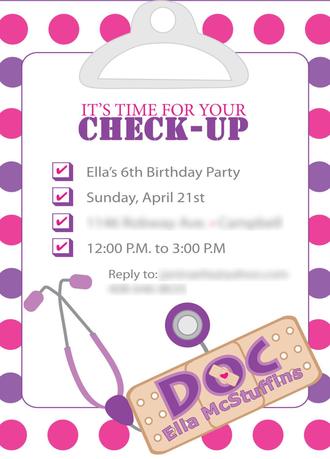Doc McStuffins Inspired Birthday invites Template ly DIY