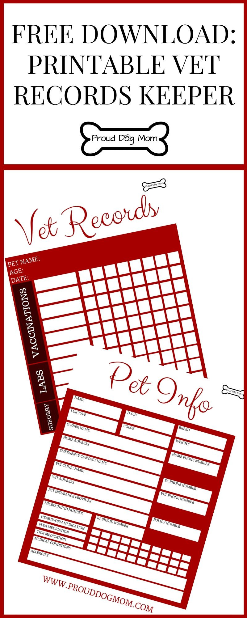 Dog Shot Record Template