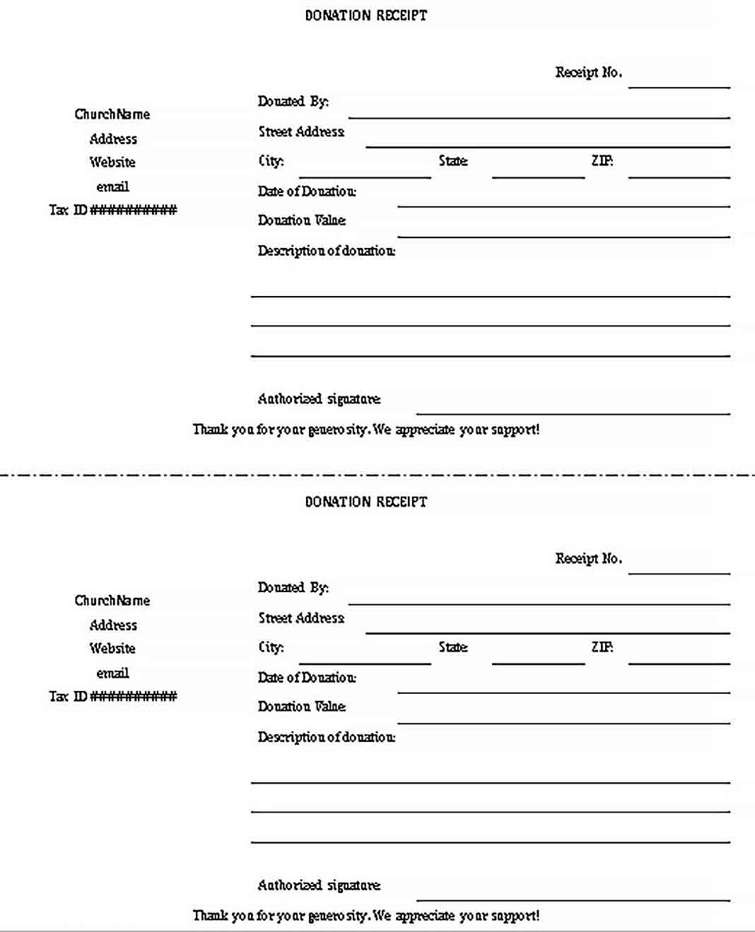 Donation form Template Word