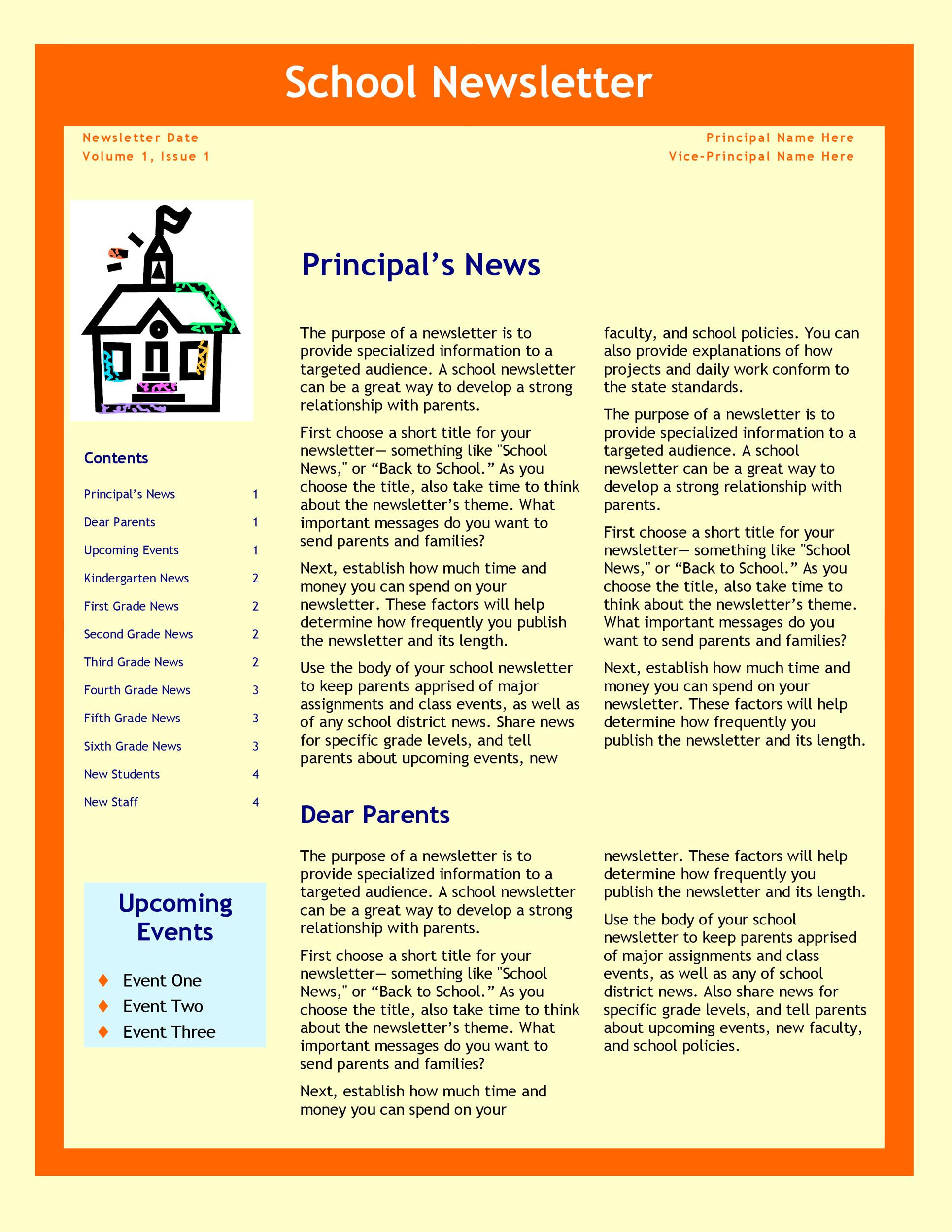 Elementary School Newsletter Template