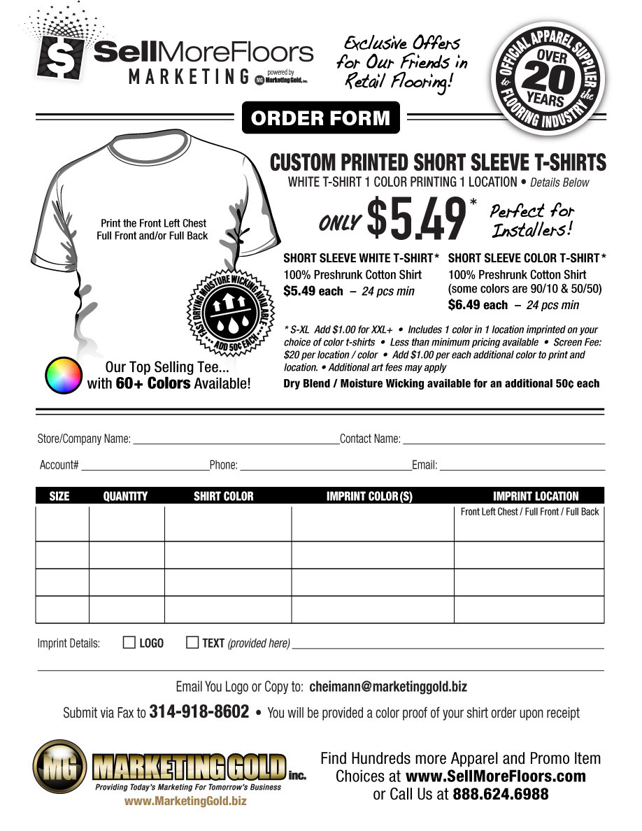 Embroidery order form Template