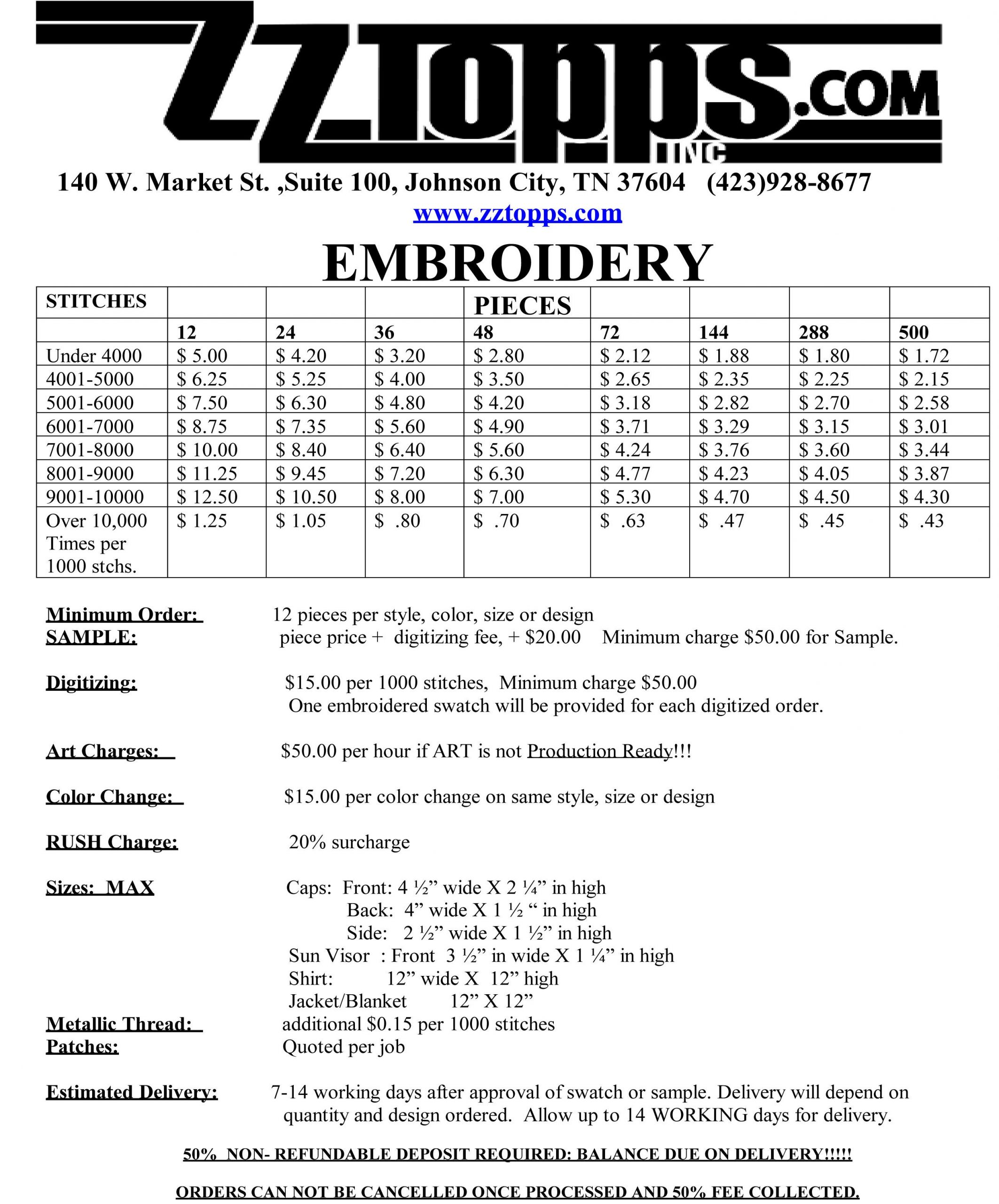 embroidery order form