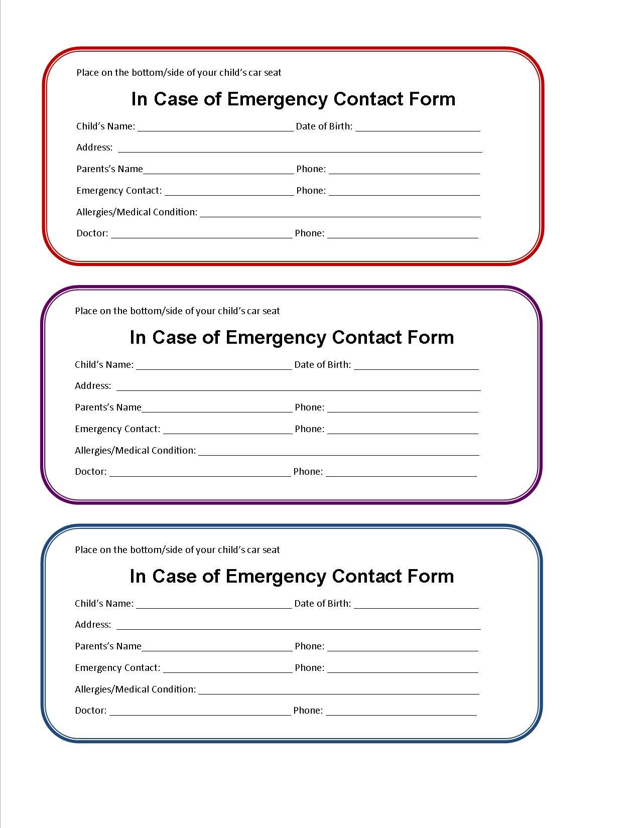 printable emergency contact form for car seat