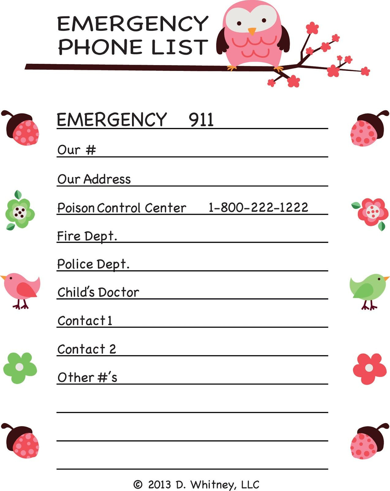 emergency phone list template for kids Google Search