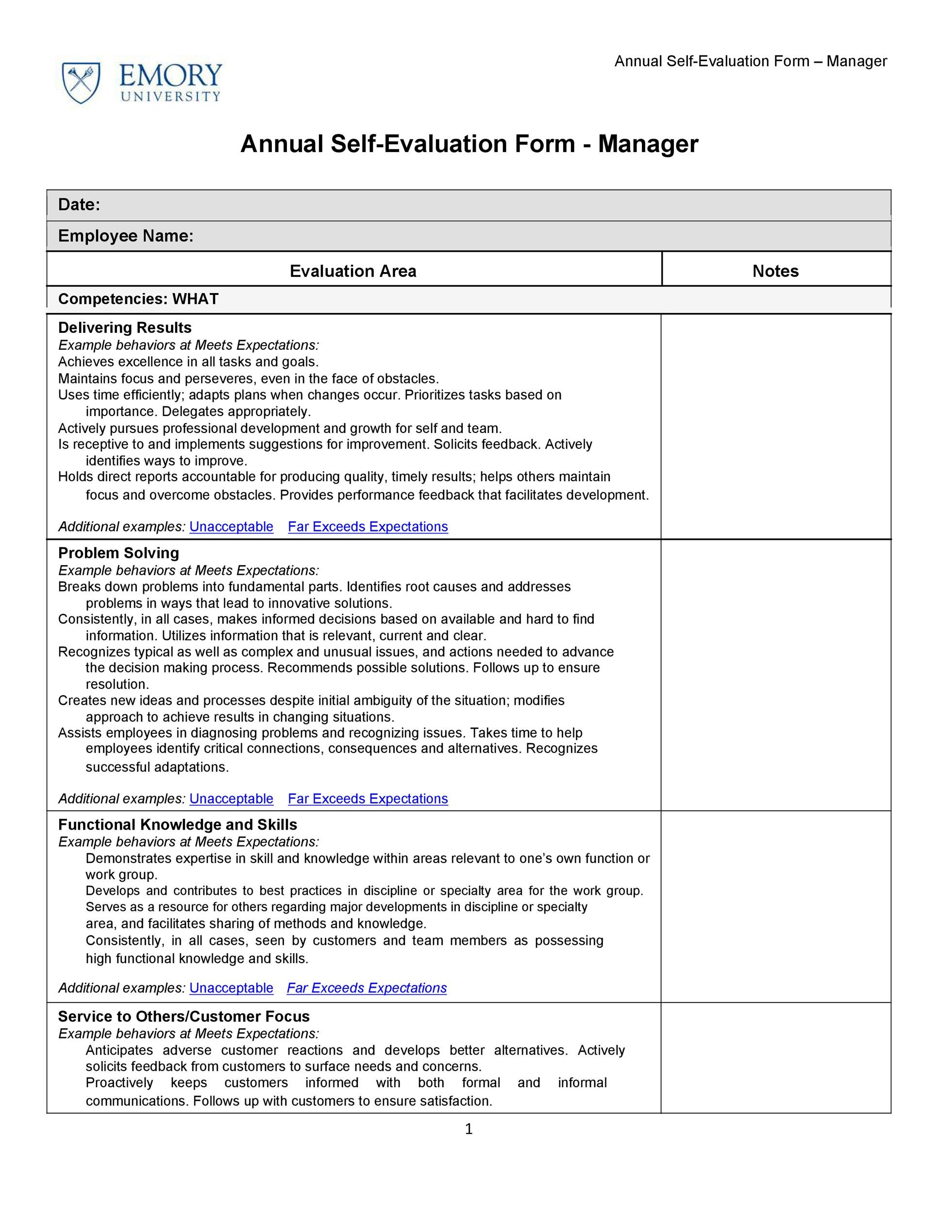 Employee Evaluation form Template