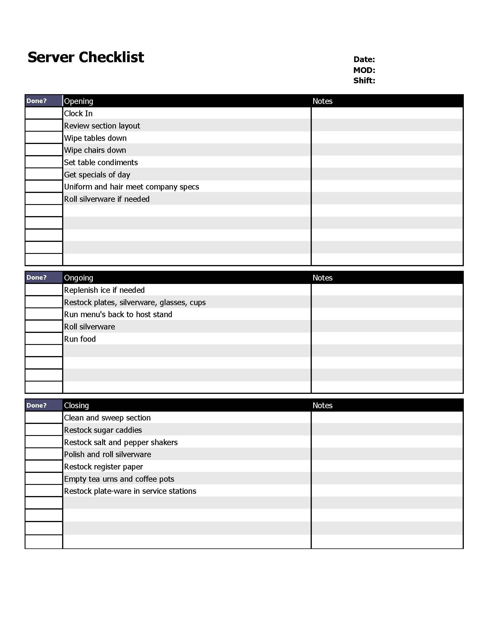 Employee Task List Template