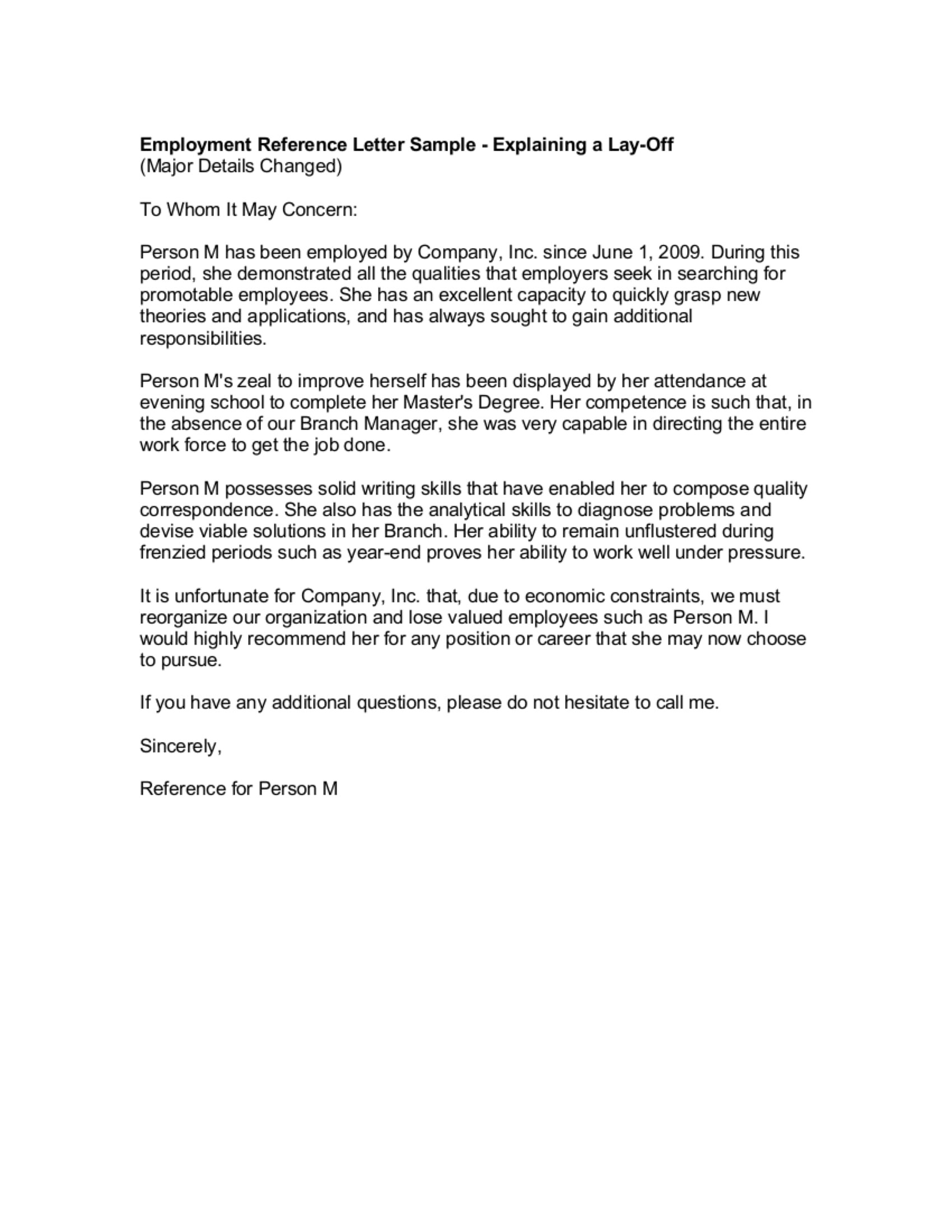 Employment Reference Letter Template