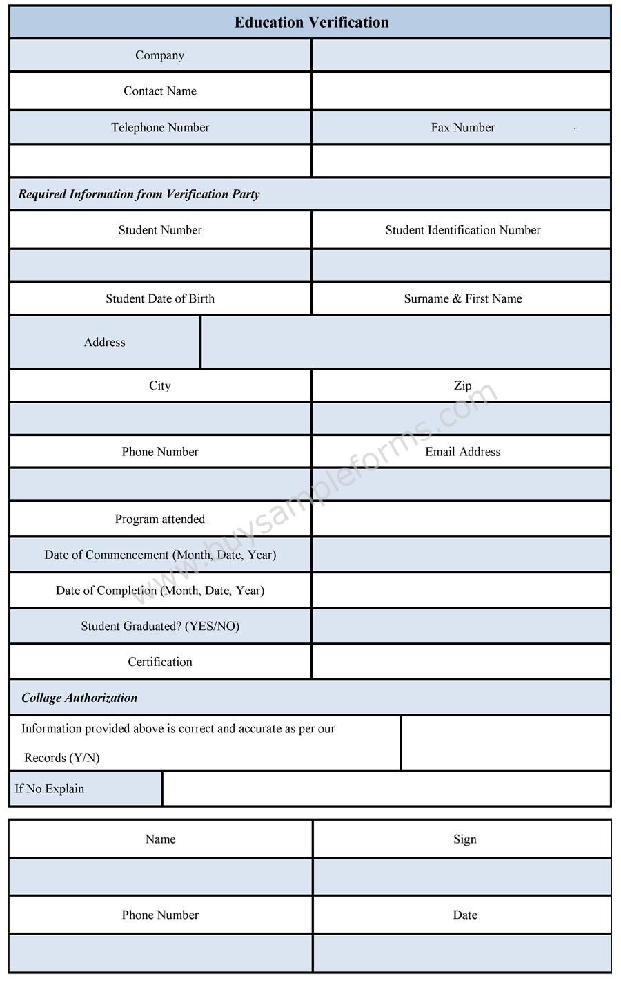 Employment Verification form Template