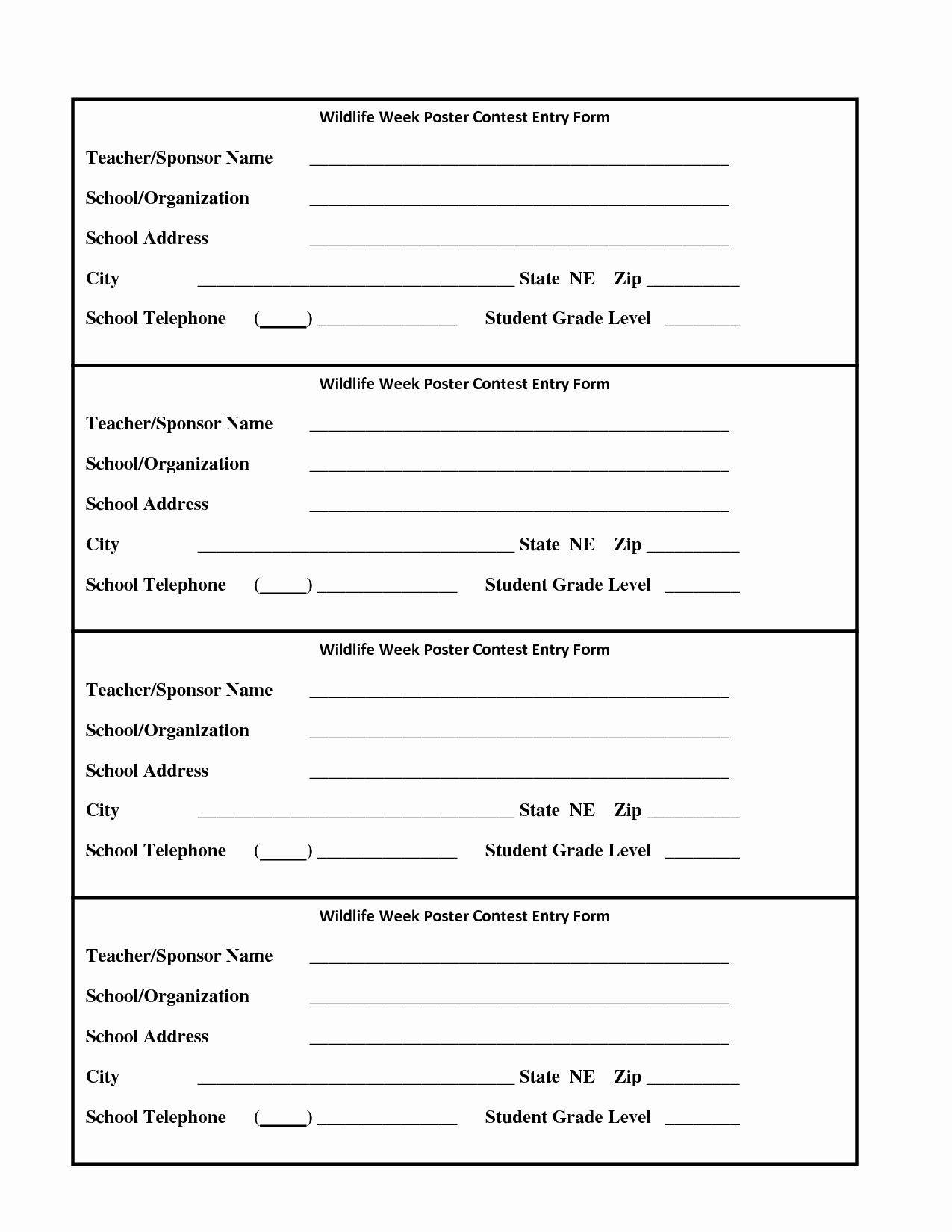 Entry form Template Word in 2020