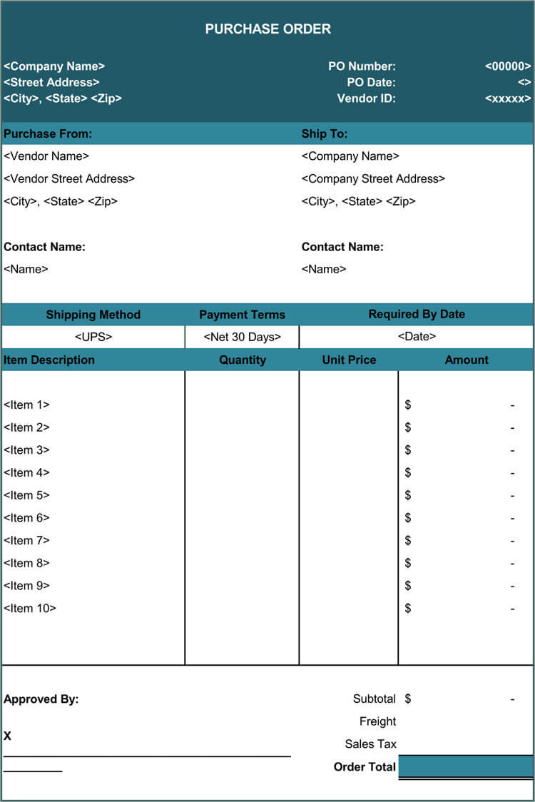Excel order form Template