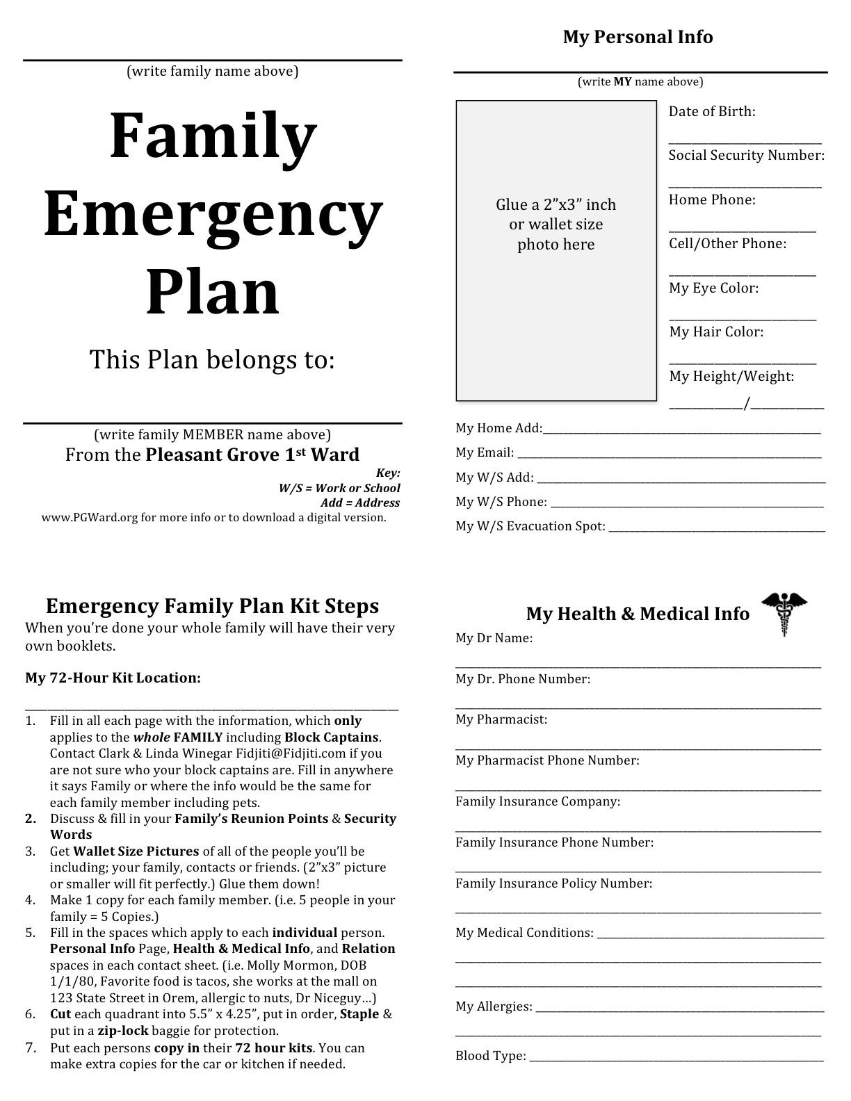 Family Emergency plan printable documents for your