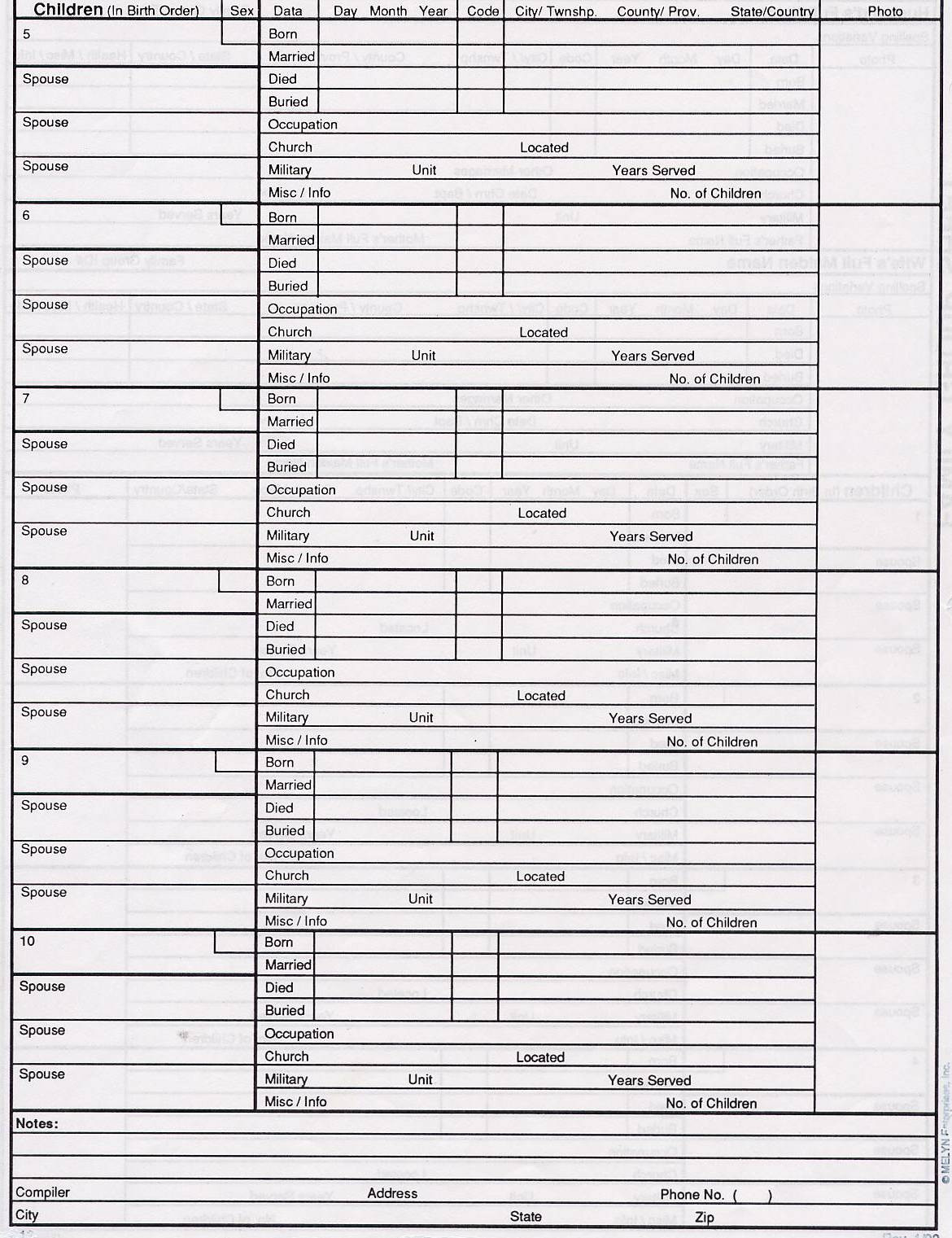Family Group Sheet Template