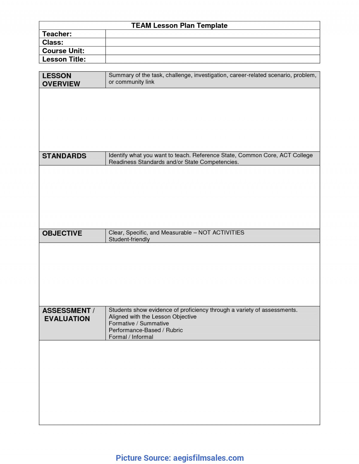 Formal Lesson Plan Template
