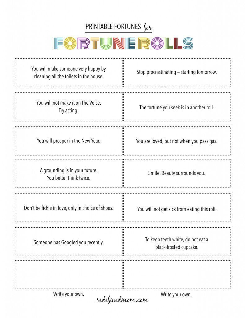 Printable Fortune Cookie Quotes