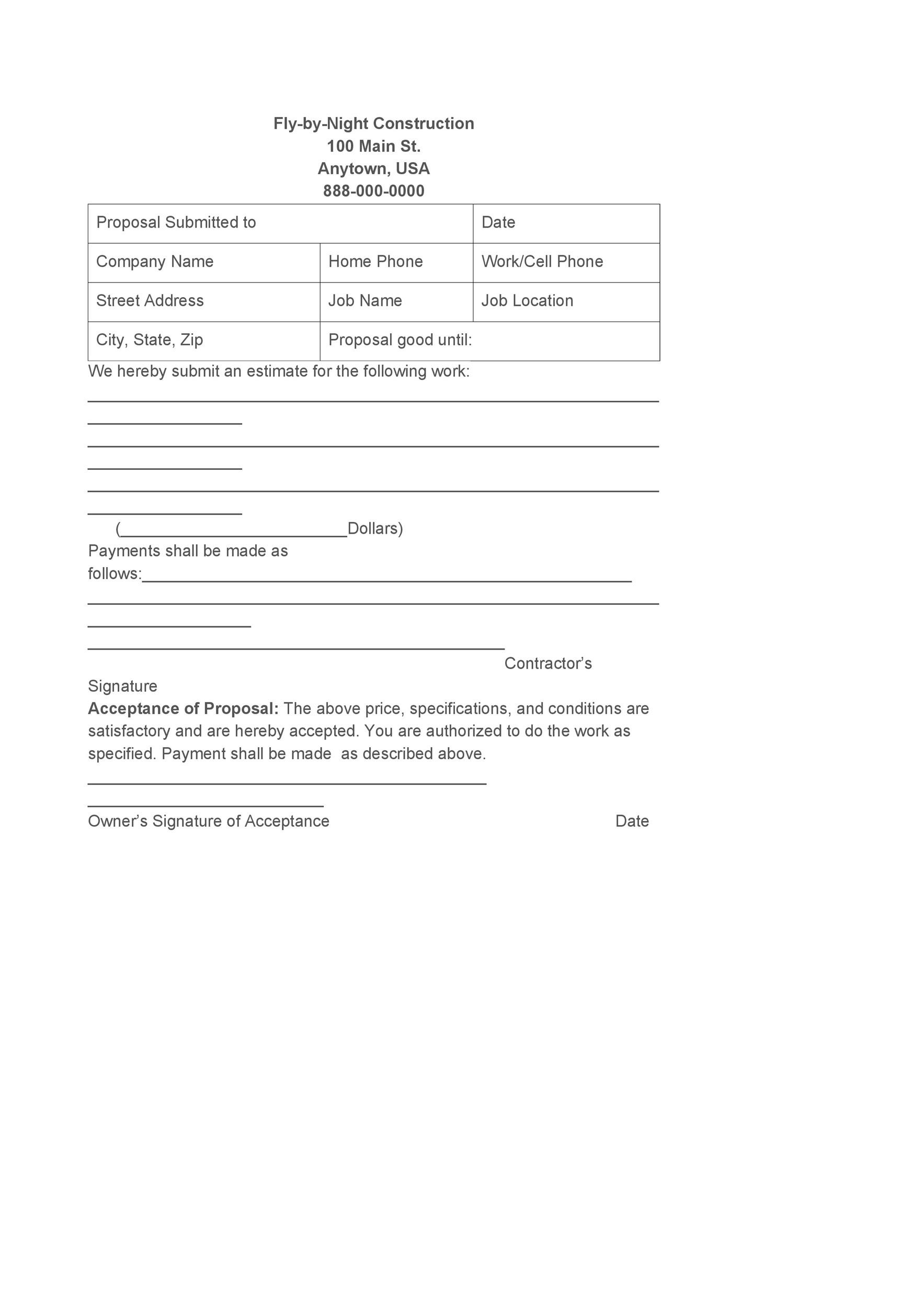 Free Bid Proposal Template