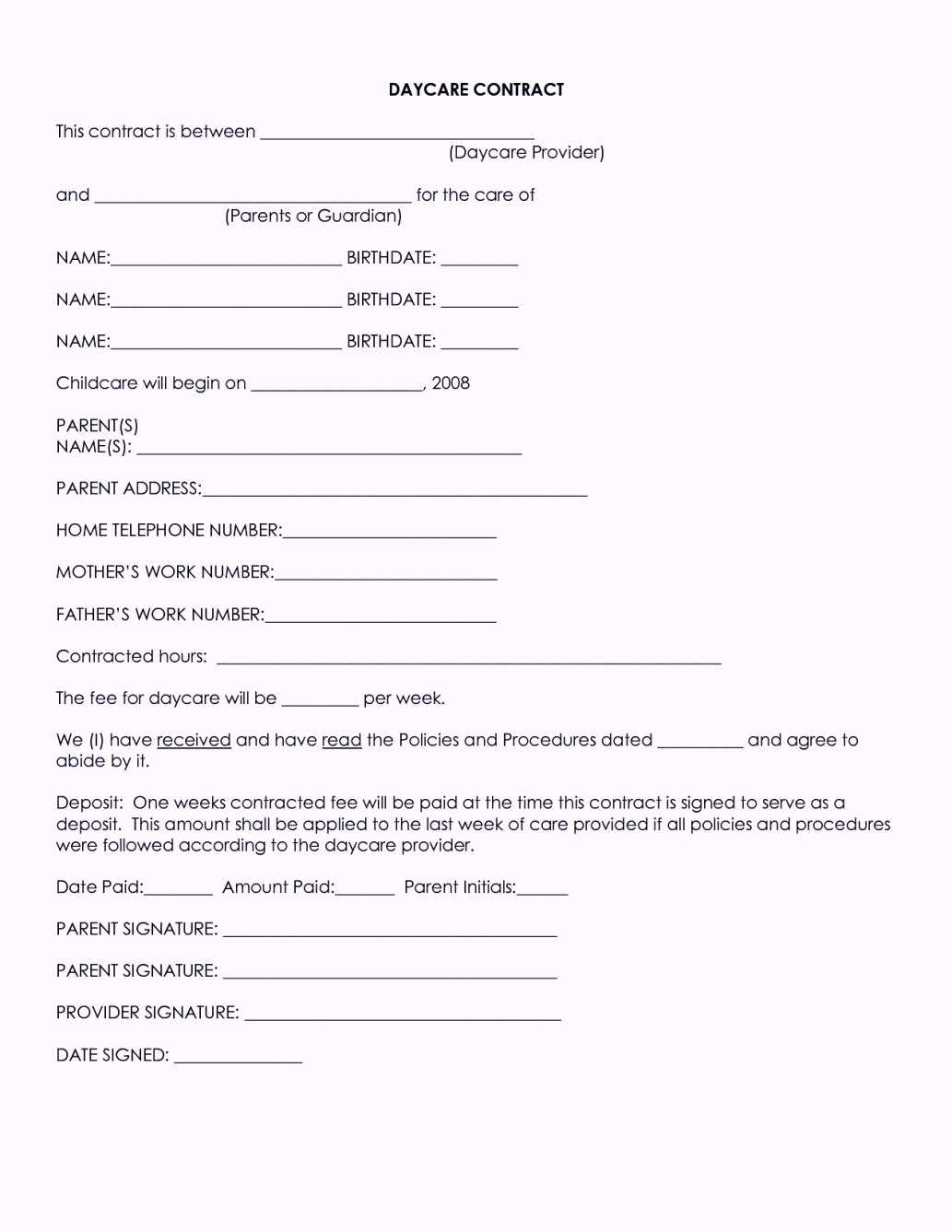 Free Caregiver Contract Template