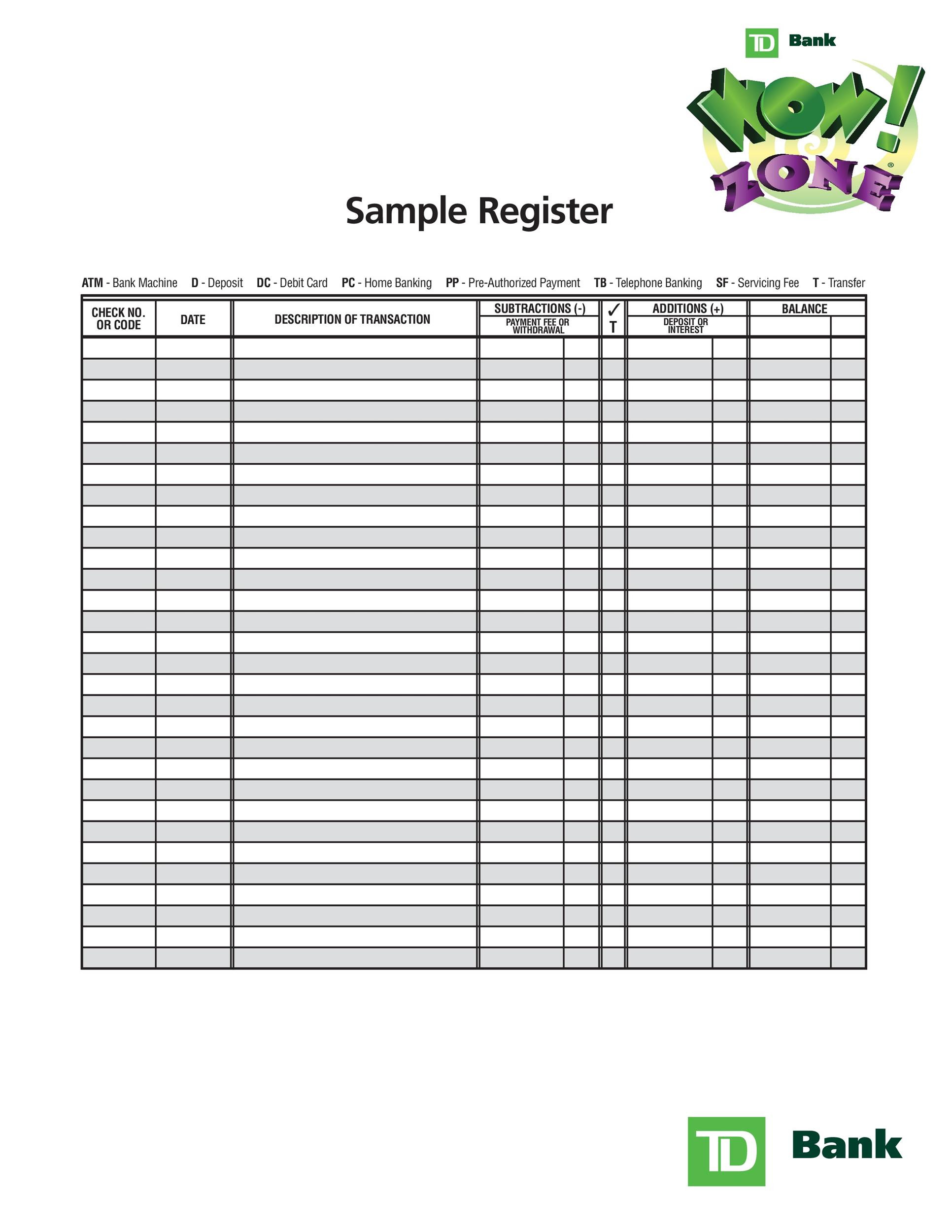 Free Check Register Template