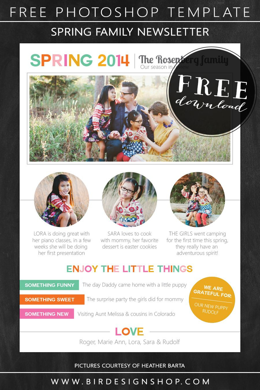 Spring family newsletter free photoshop template