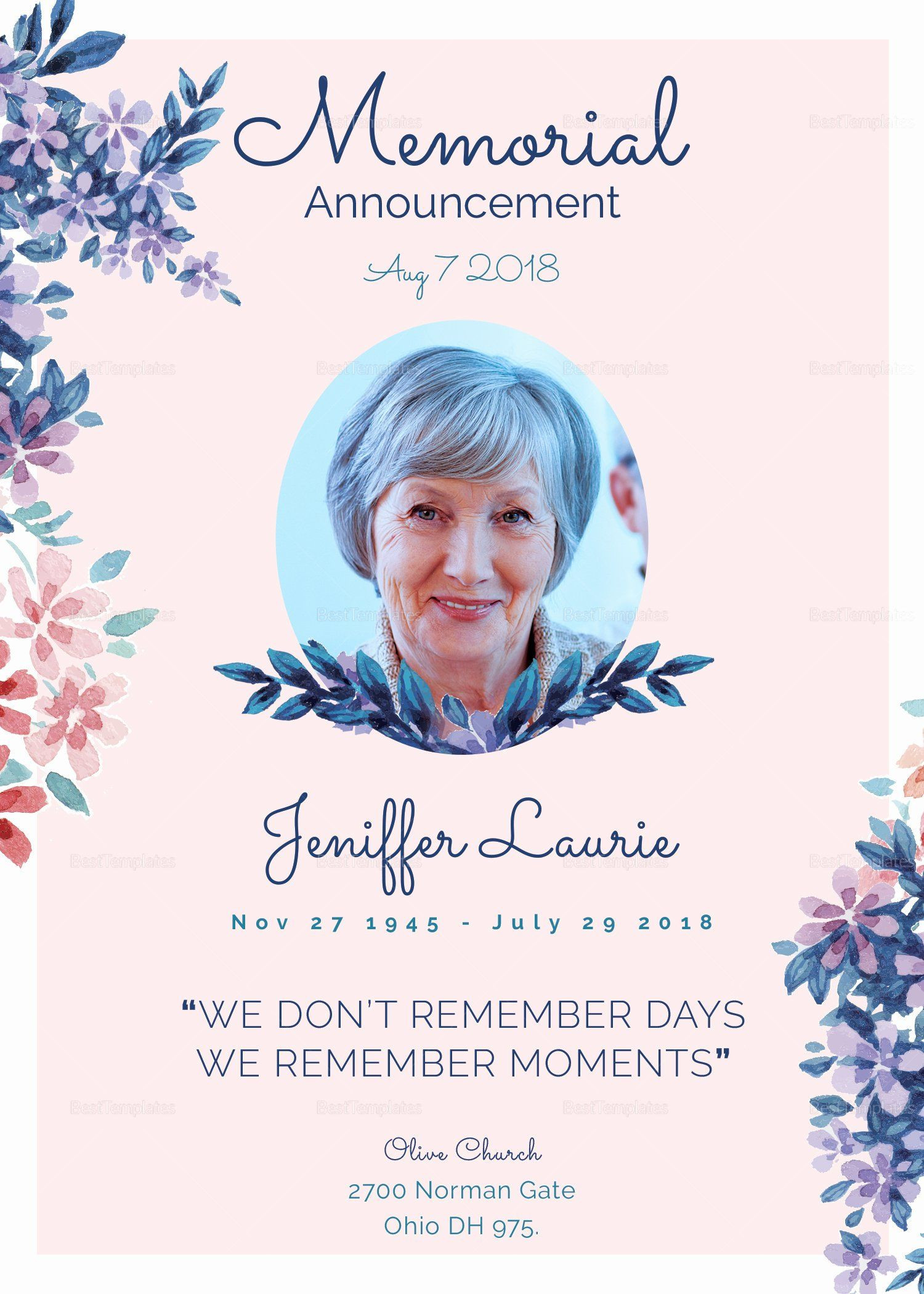 Free Funeral Card Template