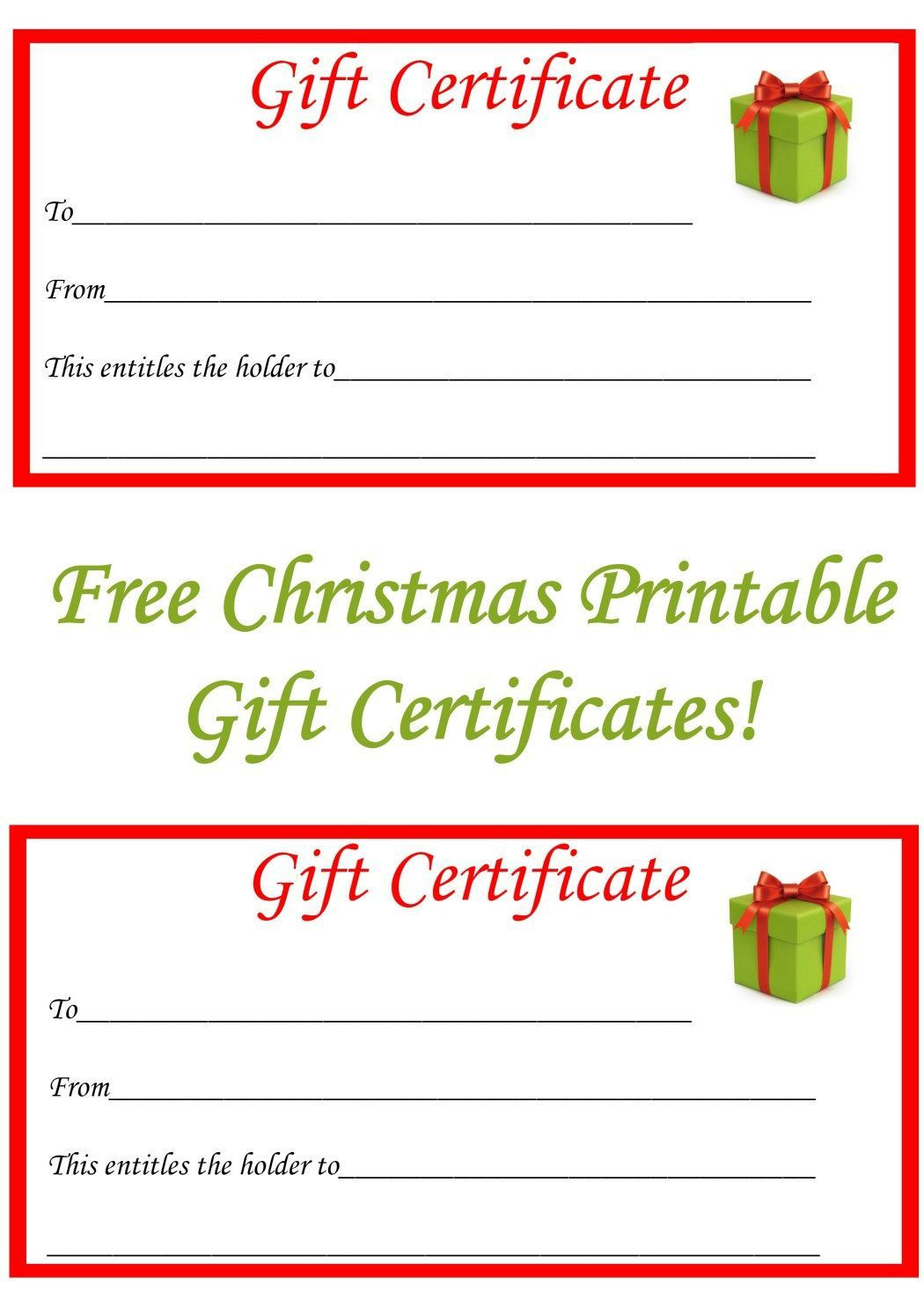 The extraordinary Free Christmas Printable Gift Certificates