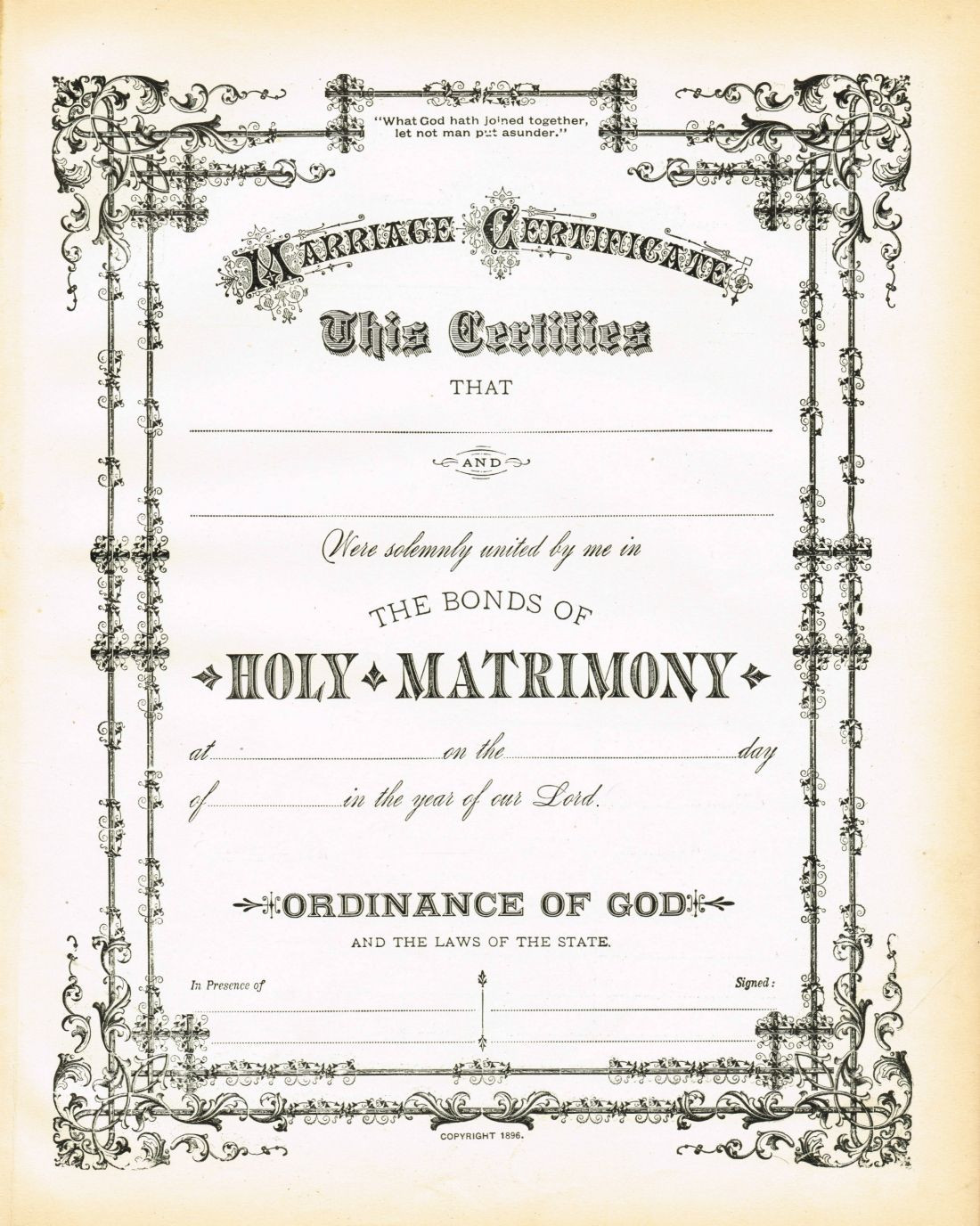 Antique Certificate of Marriage Printable