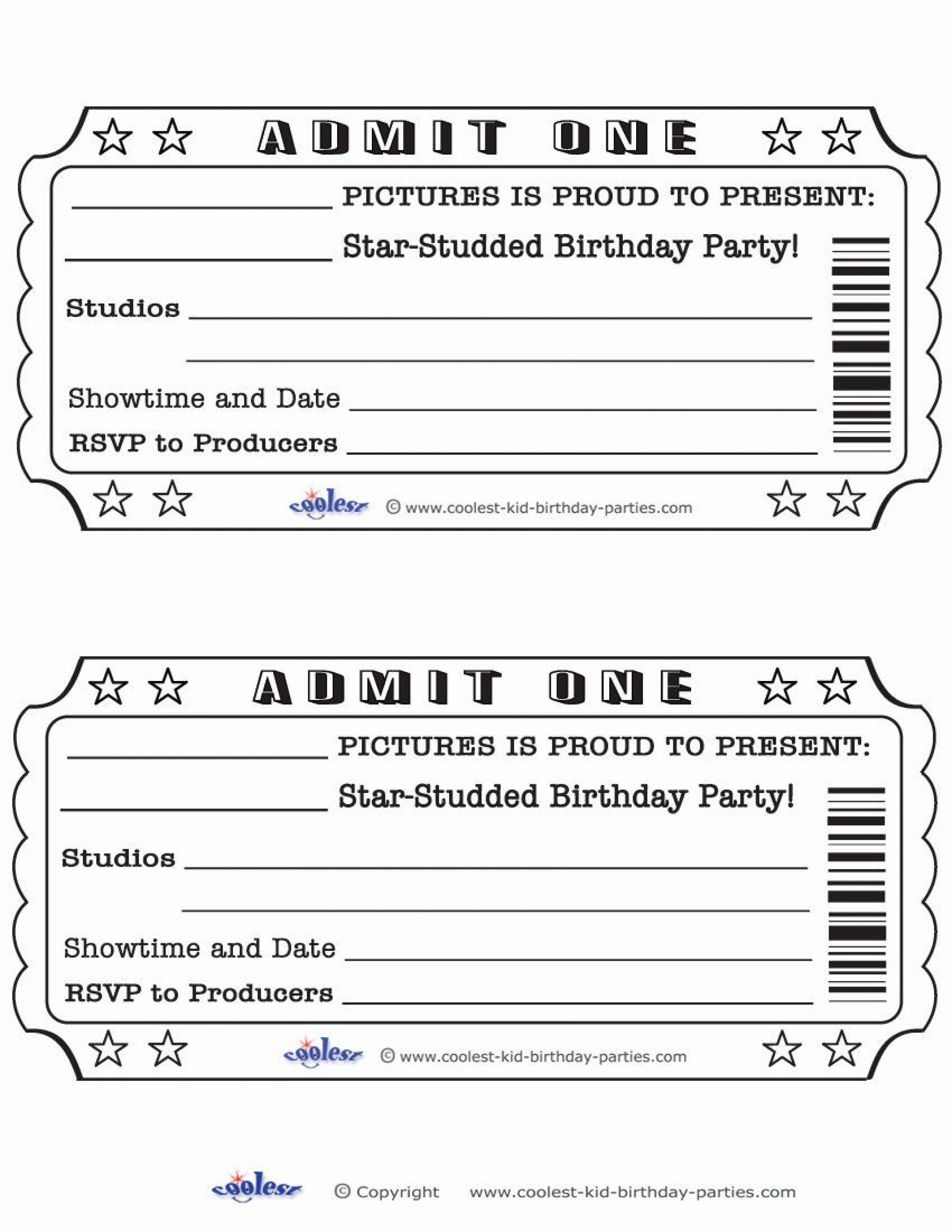 Free Movie Ticket Template Addictionary