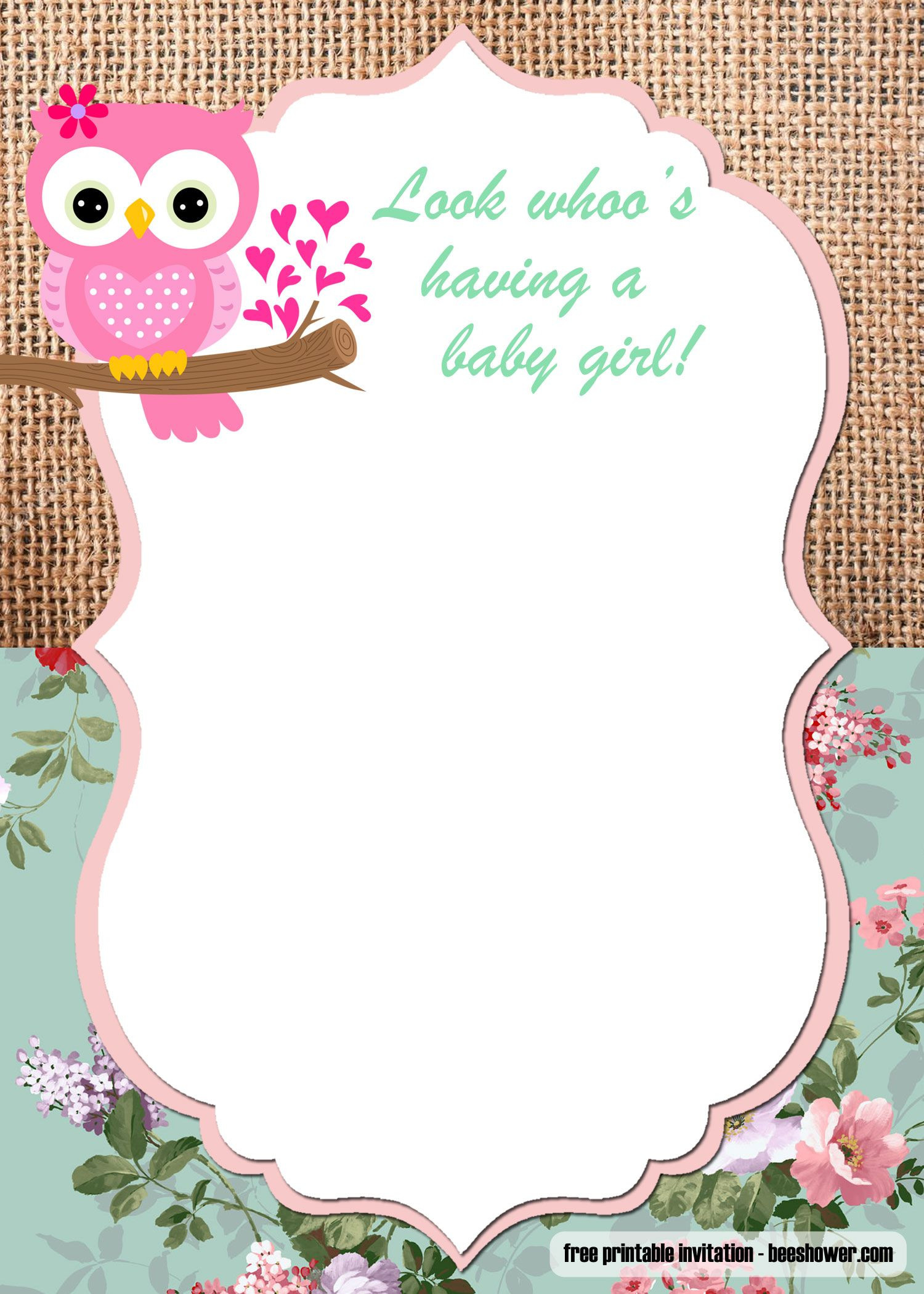 FREE Printable Owl Baby Shower Invitations Templates