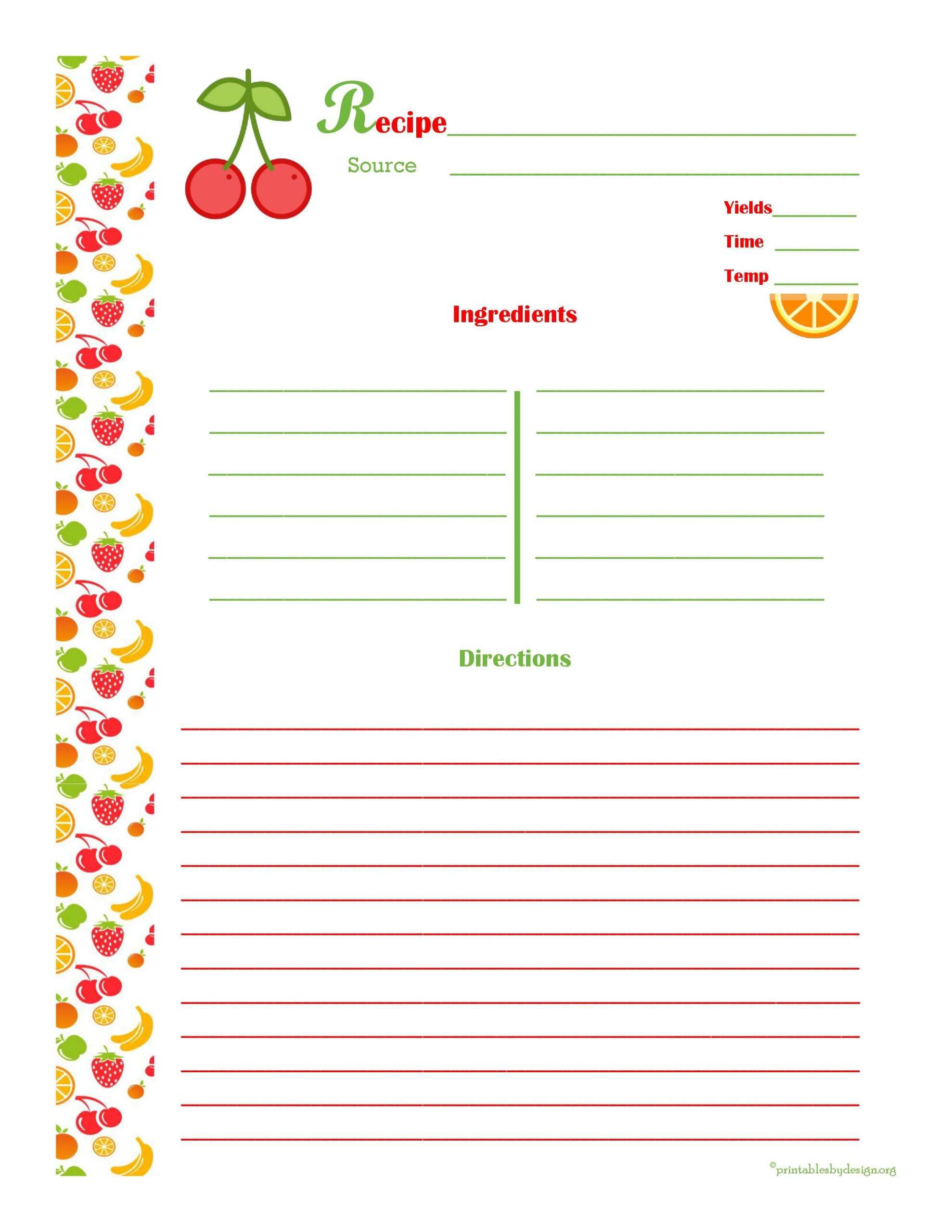 Free Recipe Page Template