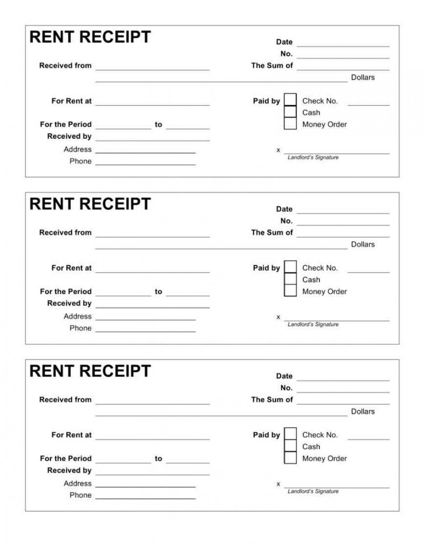 Free Rent Receipt Template