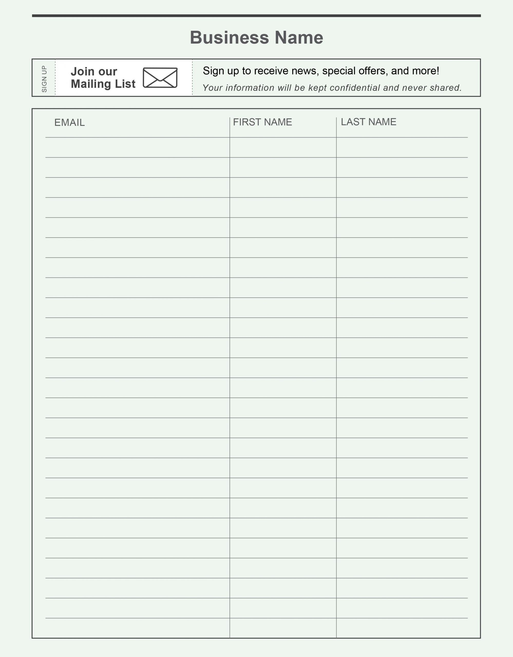 Free Signup Sheet Template