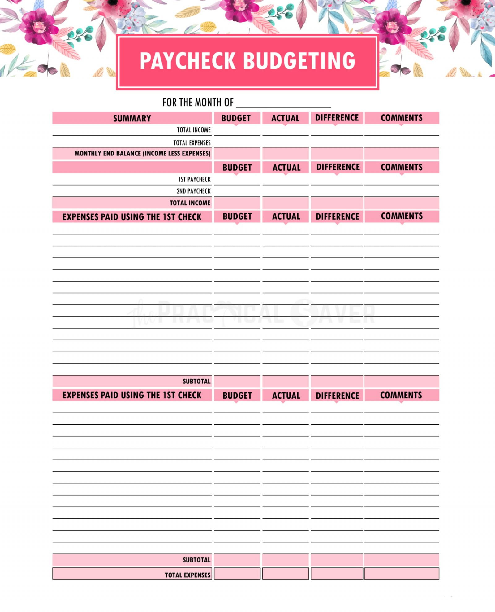 Free Weekly Budget Template