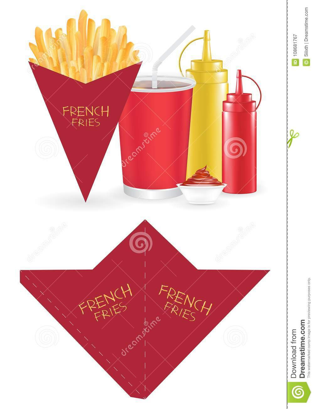 French Fry Box Template