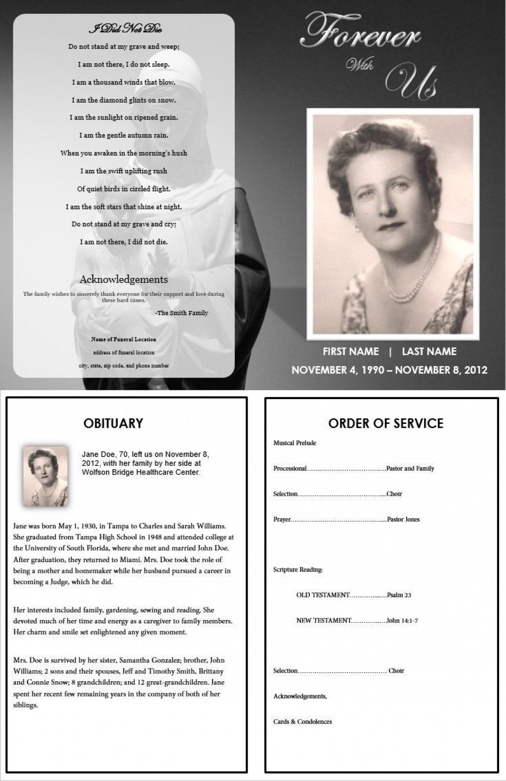 Free Funeral Pamphlet Template Addictionary